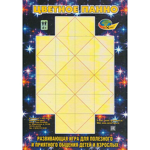 Развивающая игра Цветное панноИзучаем цвета и формы<br>Игра состоит из 20 цветных парных двухцветных карточек-квадратов и игрового поля. Играют от 1-го до 4-х человек. С помощью карточек-квадратов на игровом поле нужно выложить 7 больших квадратов пяти цветов. Развивает пространственное воображение, умение оценивать ситуацию, вести элементарный расчет и принимать верное решение, умение думать за себя и за соперников.<br><br>Ширина мм: 23<br>Глубина мм: 31<br>Высота мм: 1<br>Вес г: 140<br>Возраст от месяцев: 36<br>Возраст до месяцев: 2147483647<br>Пол: Унисекс<br>Возраст: Детский<br>SKU: 4803037