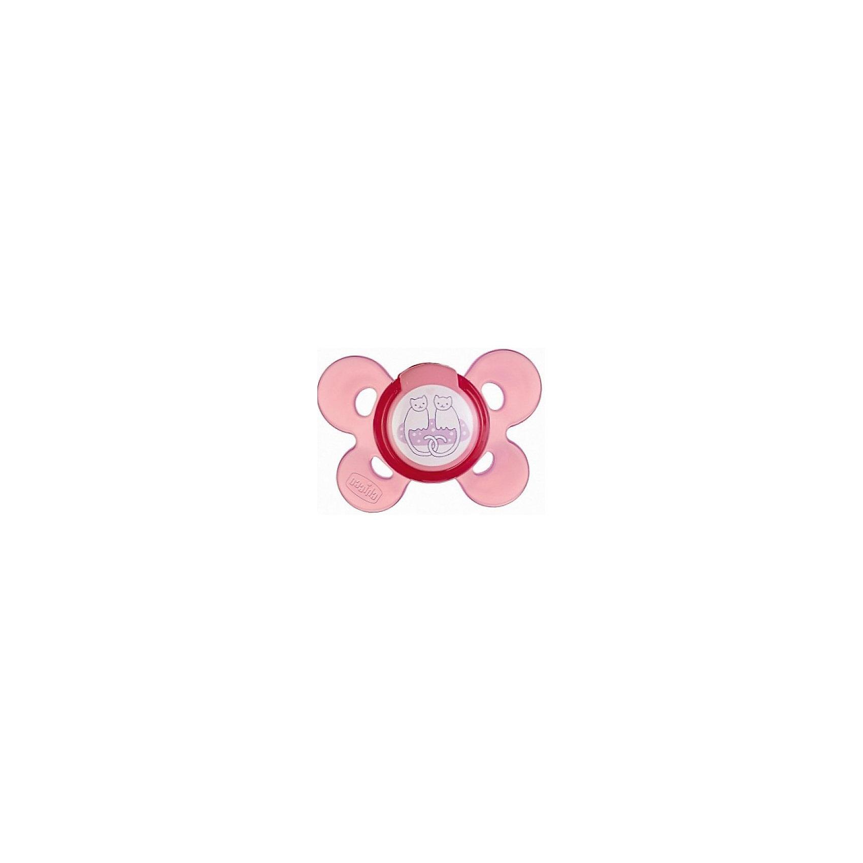 Силиконовая пустышка КОТИКИ Physio Comfort, 6-12мес., Chicco, розовыйПустышка Physio Comfort от известного итальянского бренда Chicco разработана совместно с ведущими ортодонтами и учитывает анатомические особенности ротовой полости грудного ребенка. Такая пустышка не препятствует процессу правильного формирования ротовой полости. <br>Она производится из специально разработанного очень мягкого силикона. <br>Ультратонкий профиль у основания нагубника позволит ребенку естественно закрывать рот. Широкое и мягкое основание не травмирует кожу ребенка, желоб на окончании пустышки обеспечит естественное положение языка и будет способствовать правильному прикусу. Выступы там же созданы для давления во время сосания, они имитируют естественные ощущение неба. Отверстия в нагубнике сделаны для притока воздуха к коже ребенка.<br><br>Дополнительная информация:<br><br>возраст: от 6 до 12 месяцев; материал: силикон; анатомическая форма;<br>вентиляция.<br><br>Внимание! Основным является первое фото, последующие фотографии размещены с целью показать функционал данной модели.<br><br>Пустышку Physio Comfort от бренда CHICCO можно купить в нашем интернет-магазине<br><br>Ширина мм: 130<br>Глубина мм: 80<br>Высота мм: 55<br>Вес г: 39<br>Возраст от месяцев: 6<br>Возраст до месяцев: 12<br>Пол: Женский<br>Возраст: Детский<br>SKU: 4803041