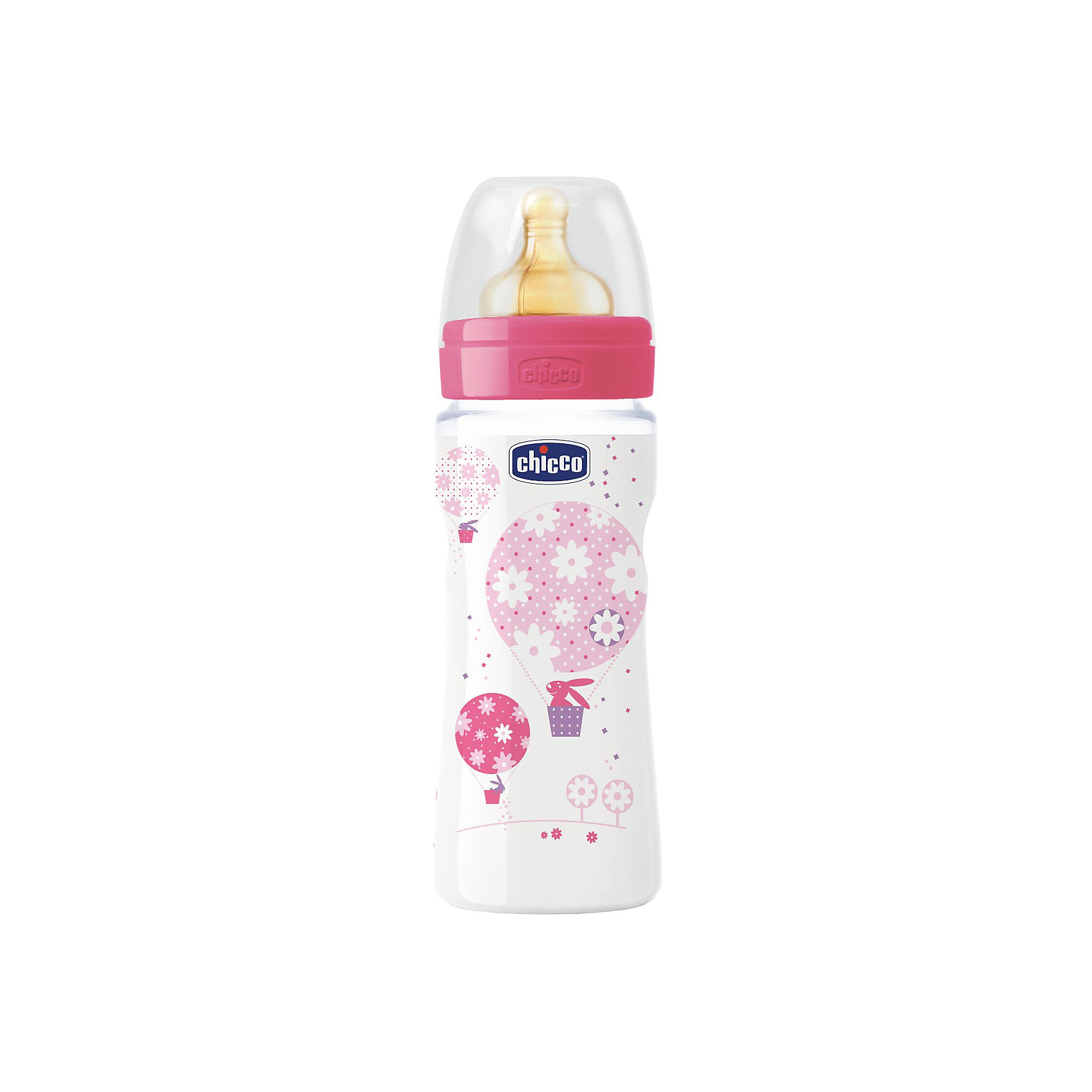 цена на CHICCO Бутылочка Well-Being Girl 4мес.+, лат.соска, РР, 330мл., CHICCO