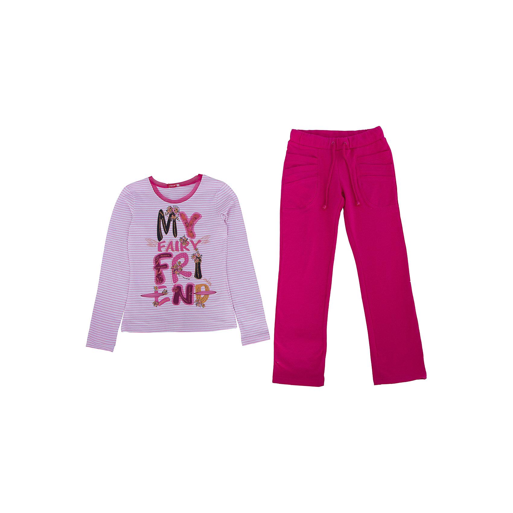 Комплект :футболка с длинным рукавом и брюки для девочки PELICANКомплекты<br>Модный комплект для девочки состоит из футболки с длинным рукавом и брюк. Удобные брюки и футболка помогут разнообразить летний гардероб ребенка, создать подходящий погоде ансамбль. Удобный крой и качественный материал обеспечат ребенку комфорт при ношении этих вещей. <br>Брюки очень стильно смотрятся благодаря актуальному в этом сезоне цвету. Футболка - с модным принтом. Материал - легкий, отлично подходит для детской одежды, состоит преимущественно из дышащего натурального хлопка. Очень приятен на ощупь, не вызывает аллергии.<br><br>Дополнительная информация:<br><br>материал: 93% хлопок, 7% эластан;<br>цвет: разноцветный;<br>футболка - с принтом.<br><br>Комплект для девочки от бренда PELICAN (Пеликан) можно купить в нашем магазине.<br><br>Ширина мм: 215<br>Глубина мм: 88<br>Высота мм: 191<br>Вес г: 336<br>Цвет: фиолетовый<br>Возраст от месяцев: 72<br>Возраст до месяцев: 84<br>Пол: Женский<br>Возраст: Детский<br>Размер: 122,116<br>SKU: 4804900