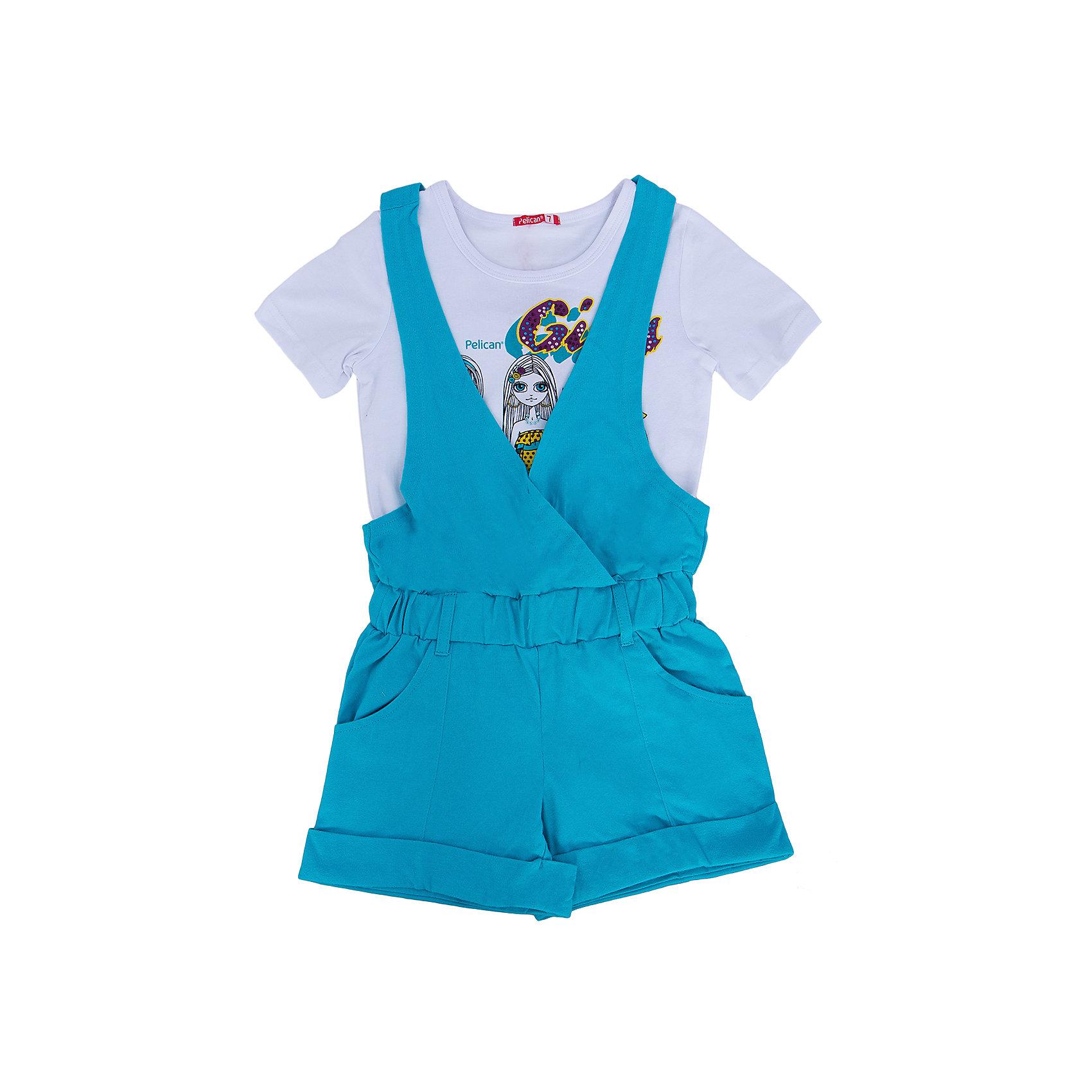 Комплект для девочки PELICANСтильный комплект для девочки состоит из футболки и полукомбинезона. Удобные вещи помогут разнообразить гардероб ребенка, создать подходящий погоде ансамбль. Удобный крой и качественный материал обеспечат ребенку комфорт при ношении этих вещей. <br>Полукомбинезон очень стильно смотрятся благодаря актуальному в этот сезоне дизайну. Футболка - с модным принтом и короткими рукавами. Материал - легкий, отлично подходит для лета, состоит преимущественно из дышащего натурального хлопка. Очень приятен на ощупь, не вызывает аллергии.<br><br>Дополнительная информация:<br><br>материал: футболка - 93% хлопок, 7% эластан, полукомбинезон - 100% хлопок;<br>цвет: разноцветный;<br>футболка - с принтом;<br>рукава короткие.<br><br>Комплект для девочки от бренда PELICAN (Пеликан) можно купить в нашем магазине.<br><br>Ширина мм: 215<br>Глубина мм: 88<br>Высота мм: 191<br>Вес г: 336<br>Цвет: голубой<br>Возраст от месяцев: 72<br>Возраст до месяцев: 84<br>Пол: Женский<br>Возраст: Детский<br>Размер: 122,128<br>SKU: 4804916