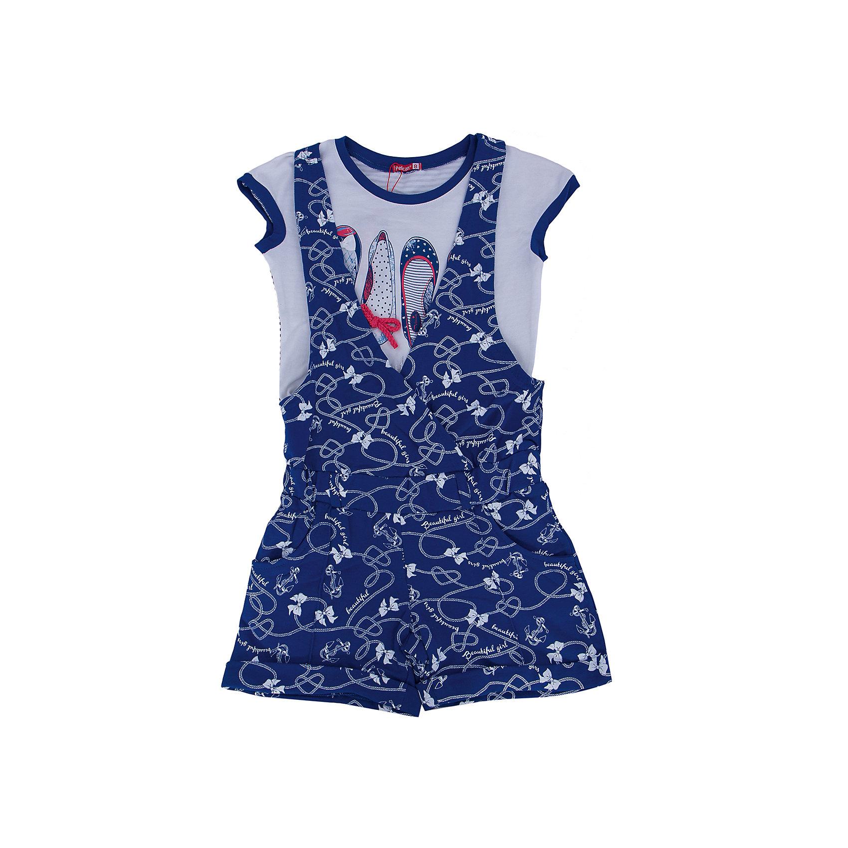 Комплект для девочки PELICANКомплекты<br>Очень модный комплект для девочки состоит из футболки и полукомбинезона. Удобные вещи помогут разнообразить гардероб ребенка, создать подходящий погоде ансамбль. Удобный крой и качественный материал обеспечат ребенку комфорт при ношении этих вещей. <br>Полукомбинезон очень стильно смотрятся благодаря актуальному в этот сезоне дизайну. Футболка - с модным принтом и короткими рукавами. Материал - легкий, отлично подходит для лета, состоит преимущественно из дышащего натурального хлопка. Очень приятен на ощупь, не вызывает аллергии.<br><br>Дополнительная информация:<br><br>материал: футболка - 93% хлопок, 7% эластан, полукомбинезон - 100% хлопок;<br>цвет: синий;<br>футболка - с принтом;<br>рукава короткие;<br>на полукомбинезоне - шлевки и карманы.<br><br>Комплект для девочки от бренда PELICAN (Пеликан) можно купить в нашем магазине.<br><br>Ширина мм: 215<br>Глубина мм: 88<br>Высота мм: 191<br>Вес г: 336<br>Цвет: синий<br>Возраст от месяцев: 96<br>Возраст до месяцев: 108<br>Пол: Женский<br>Возраст: Детский<br>Размер: 134,140,128,122,116<br>SKU: 4804922