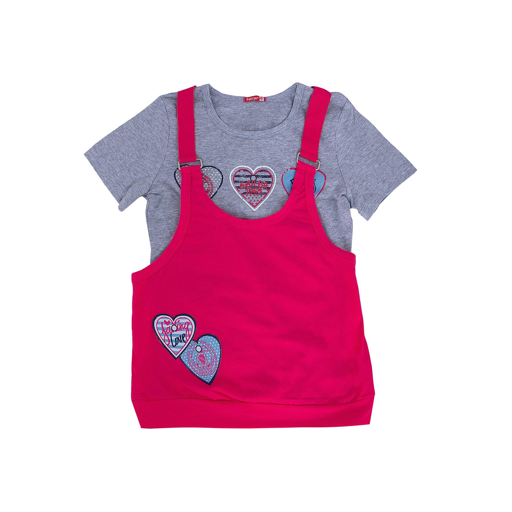 Комплект: футболка и туника для девочки PELICANМногослойность - на пике моды! Модный комплект состоит из туники и футболки. Удобные вещи помогут разнообразить гардероб ребенка, создать подходящий погоде ансамбль. Удобный крой и качественный материал обеспечат ребенку комфорт при ношении этих вещей. <br>Туника очень стильно смотрится благодаря актуальной в этот сезоне расцветке. Футболка - с модным принтом и короткими рукавами. Материал - легкий, отлично подходит для лета, состоит преимущественно из дышащего натурального хлопка. Очень приятен на ощупь, не вызывает аллергии.<br><br>Дополнительная информация:<br><br>материал: 93% хлопок, 7% эластан;<br>цвет: розовый;<br>с принтом;<br>рукава короткие.<br><br>Комплект для девочки от бренда PELICAN (Пеликан) можно купить в нашем магазине.<br><br>Ширина мм: 199<br>Глубина мм: 10<br>Высота мм: 161<br>Вес г: 151<br>Цвет: розовый<br>Возраст от месяцев: 84<br>Возраст до месяцев: 96<br>Пол: Женский<br>Возраст: Детский<br>Размер: 128,140,116,122,134<br>SKU: 4804928