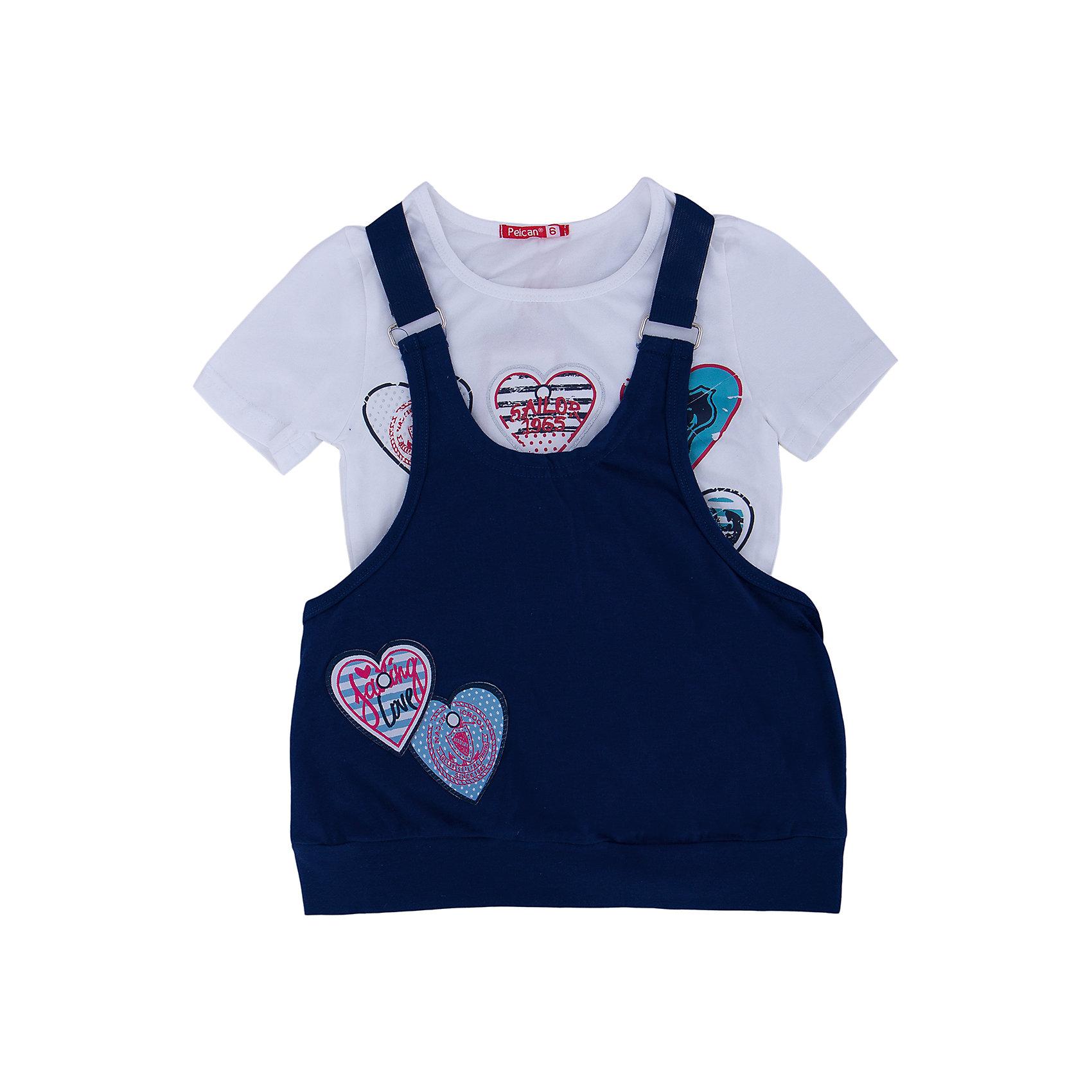 Комплект: футболка и туника для девочки PELICANМногослойность - на пике моды! Модный комплект состоит из туники и футболки. Удобные вещи помогут разнообразить гардероб ребенка, создать подходящий погоде ансамбль. Удобный крой и качественный материал обеспечат ребенку комфорт при ношении этих вещей. <br>Туника очень стильно смотрится благодаря актуальной в этот сезоне расцветке. Футболка - с модным принтом и короткими рукавами. Материал - легкий, отлично подходит для лета, состоит преимущественно из дышащего натурального хлопка. Очень приятен на ощупь, не вызывает аллергии.<br><br>Дополнительная информация:<br><br>материал: 93% хлопок, 7% эластан;<br>цвет: синий;<br>с принтом;<br>рукава короткие.<br><br>Комплект для девочки от бренда PELICAN (Пеликан) можно купить в нашем магазине.<br><br>Ширина мм: 199<br>Глубина мм: 10<br>Высота мм: 161<br>Вес г: 151<br>Цвет: синий<br>Возраст от месяцев: 84<br>Возраст до месяцев: 96<br>Пол: Женский<br>Возраст: Детский<br>Размер: 128,116,122<br>SKU: 4804934