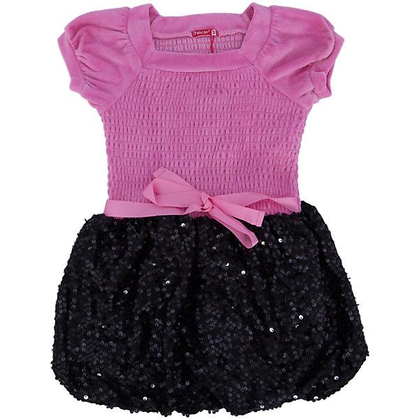 Платье для девочки PELICANОдежда<br>Модное платье для девочки смотрится очень нарядно. Оно поможет разнообразить гардероб ребенка, создать подходящий погоде ансамбль. Удобный крой и качественный материал обеспечат ребенку комфорт при ношении этих вещей. <br>Верх платья сделан из приятного на ощупь велюра, низ - украшен блестящими пайетками. Мягкий легкий велюр, отлично подходит для детской одежды. Материал платья состоит преимущественно из дышащего натурального хлопка. <br><br>Дополнительная информация:<br><br>материал: 80% хлопок, 20% полиэстер, верх - 100% полиэстер (велюр);<br>цвет: розовый;<br>низ украшен пайетками.<br><br>Платье для девочки от бренда PELICAN (Пеликан) можно купить в нашем магазине.<br>Ширина мм: 236; Глубина мм: 16; Высота мм: 184; Вес г: 177; Цвет: розовый; Возраст от месяцев: 48; Возраст до месяцев: 60; Пол: Женский; Возраст: Детский; Размер: 110,98,104; SKU: 4804953;
