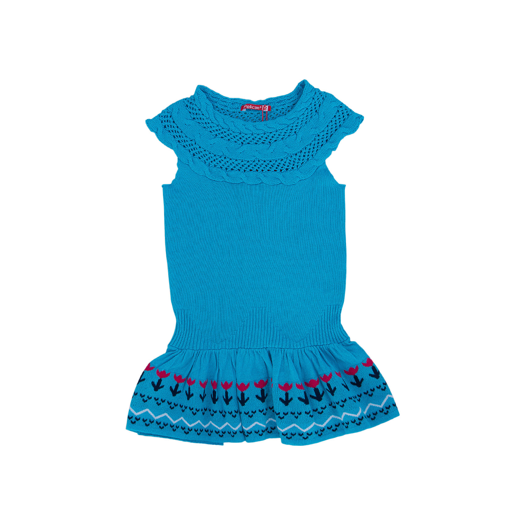 Платье для девочки PELICANПлатья и сарафаны<br>Модное вязаное платье для девочки смотрится очень нарядно. Оно поможет разнообразить гардероб ребенка, создать подходящий погоде ансамбль. Удобный крой и качественный материал обеспечат ребенку комфорт при ношении этих вещей. <br>Платье декорировано вывязанным узором из косичек, низ - украшен воланами и орнаментом. Рукава короткие. Вязка очень качественная, гладкая. Материал платья состоит из дышащего натурального хлопка. <br><br>Дополнительная информация:<br><br>материал: 100% хлопок;<br>цвет: голубой;<br>декорировано узором и воланами.<br><br>Платье для девочки от бренда PELICAN (Пеликан) можно купить в нашем магазине.<br><br>Ширина мм: 236<br>Глубина мм: 16<br>Высота мм: 184<br>Вес г: 177<br>Цвет: голубой<br>Возраст от месяцев: 18<br>Возраст до месяцев: 24<br>Пол: Женский<br>Возраст: Детский<br>Размер: 92,110,104,98<br>SKU: 4804984
