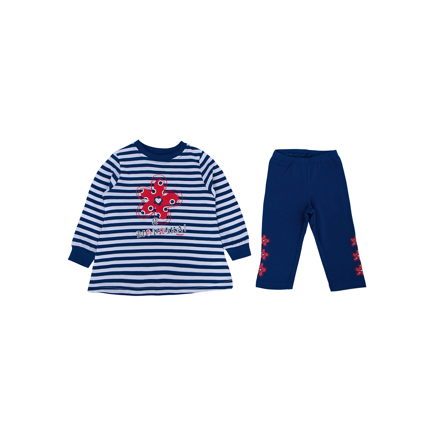 Пижама для девочки PELICANУдобная стильная пижама состоит из лосин и футболки с длинным рукавом. Удобные трикотажные изделия обеспечат комфорт во время сна. Мягкие резинки на рукавах на сдавливают кожу и не мешают кровообращению.  <br>Пижама украшена оригинальным принтом. Материал - легкий, отлично подходит для лета, состоит преимущественно из дышащего натурального хлопка. Очень приятен на ощупь, не вызывает аллергии.<br><br>Дополнительная информация:<br><br>материал: футболка - 100% хлопок, лосины - 93% хлопок, 7% эластан;<br>цвет: синий;<br>с принтом;<br>рукава длинные.<br><br>Пижама для девочки от бренда PELICAN (Пеликан) можно купить в нашем магазине.<br><br>Ширина мм: 281<br>Глубина мм: 70<br>Высота мм: 188<br>Вес г: 295<br>Цвет: синий<br>Возраст от месяцев: 36<br>Возраст до месяцев: 48<br>Пол: Женский<br>Возраст: Детский<br>Размер: 104,98,110,92,86<br>SKU: 4805109