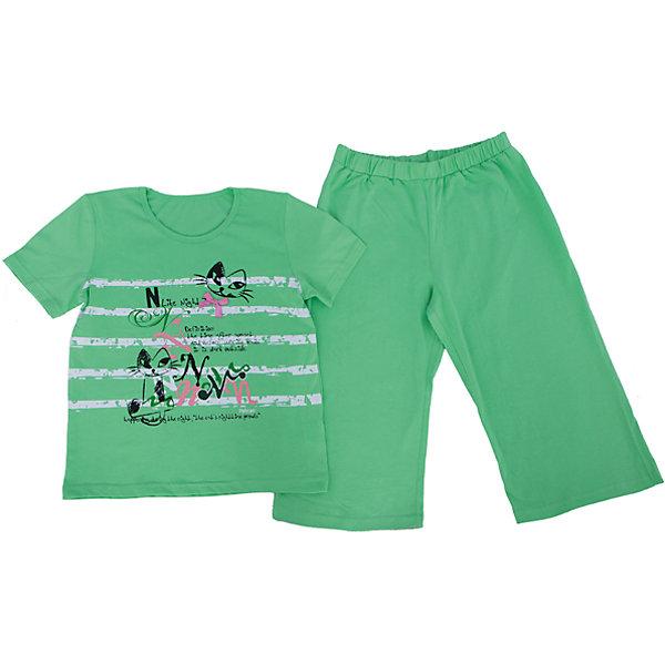 Пижама для девочки PELICANПижамы и сорочки<br>Симпатичная пижама состоит из длинных шорт и футболки. Удобные трикотажные изделия обеспечат комфорт во время сна. Мягкие резинки на рукавах на сдавливают кожу и не мешают кровообращению.  <br>Пижама украшена оригинальным принтом. Материал - легкий, отлично подходит для лета, состоит преимущественно из дышащего натурального хлопка. Очень приятен на ощупь, не вызывает аллергии.<br><br>Дополнительная информация:<br><br>материал: хлопок;<br>цвет: зеленый;<br>с принтом;<br>рукава короткие.<br><br>Пижама для девочки от бренда PELICAN (Пеликан) можно купить в нашем магазине.<br><br>Ширина мм: 281<br>Глубина мм: 70<br>Высота мм: 188<br>Вес г: 295<br>Цвет: зеленый<br>Возраст от месяцев: 60<br>Возраст до месяцев: 72<br>Пол: Женский<br>Возраст: Детский<br>Размер: 116,122,134,128,140<br>SKU: 4805115