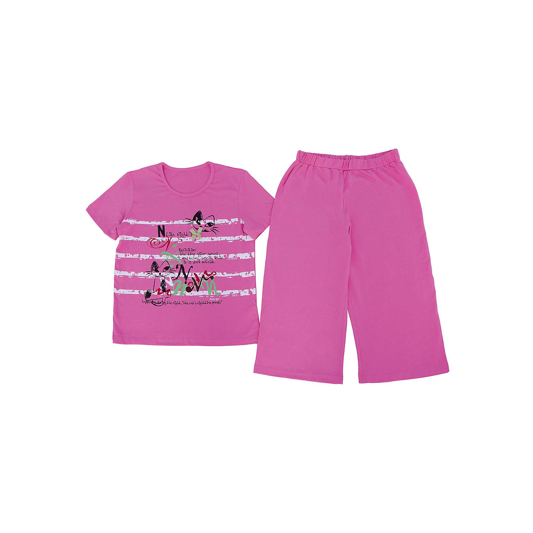 Пижама для девочки PELICANСимпатичная пижама состоит из длинных шорт и футболки. Удобные трикотажные изделия обеспечат комфорт во время сна. Мягкие резинки на рукавах на сдавливают кожу и не мешают кровообращению.  <br>Пижама украшена оригинальным принтом. Материал - легкий, отлично подходит для лета, состоит преимущественно из дышащего натурального хлопка. Очень приятен на ощупь, не вызывает аллергии.<br><br>Дополнительная информация:<br><br>материал: хлопок;<br>цвет: розовый;<br>с принтом;<br>рукава короткие.<br><br>Пижама для девочки от бренда PELICAN (Пеликан) можно купить в нашем магазине.<br><br>Ширина мм: 281<br>Глубина мм: 70<br>Высота мм: 188<br>Вес г: 295<br>Цвет: розовый<br>Возраст от месяцев: 108<br>Возраст до месяцев: 120<br>Пол: Женский<br>Возраст: Детский<br>Размер: 140,122,128,134,116<br>SKU: 4805121