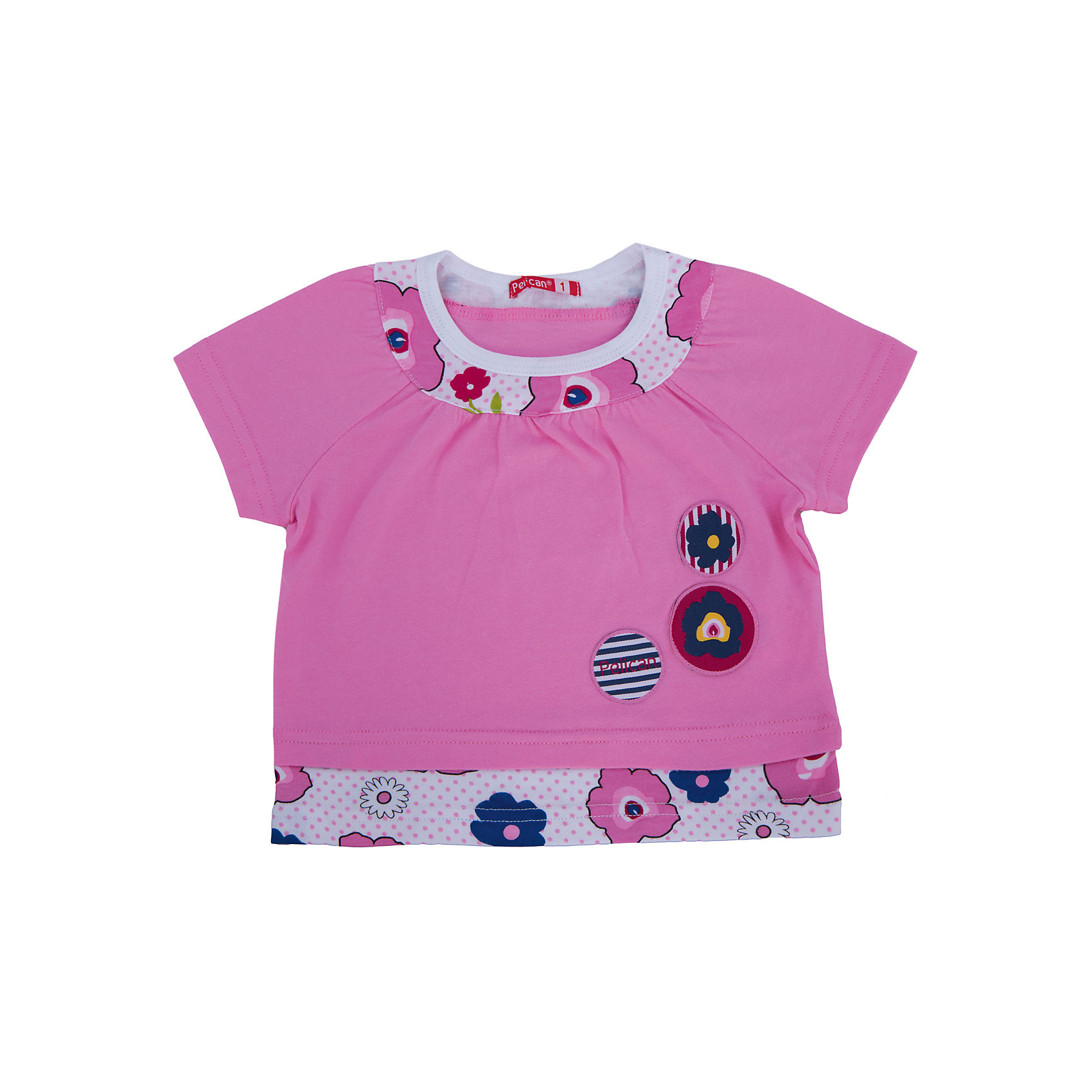 Футболка для девочки PELICANФутболки, поло и топы<br>Оригинальная удобная футболка для девочки поможет разнообразить гардероб ребенка, создать легкий подходящий погоде ансамбль. Удобный крой и качественный материал обеспечат ребенку комфорт при ношении этих вещей. <br>Футболка очень стильно смотрится благодаря актуальному дизайну. Изделие украшено модным принтом, контрастной вставкой на горловине. Рукава - короткие. Материал - легкий, отлично подходит для лета, состоит из дышащего натурального хлопка. Очень приятен на ощупь, не вызывает аллергии.<br><br>Дополнительная информация:<br><br>материал: 100% хлопок;<br>цвет: розовый;<br>принт;<br>рукава короткие.<br><br>Футболку для девочки от бренда PELICAN (Пеликан) можно купить в нашем магазине.<br><br>Ширина мм: 157<br>Глубина мм: 13<br>Высота мм: 119<br>Вес г: 200<br>Цвет: розовый<br>Возраст от месяцев: 12<br>Возраст до месяцев: 18<br>Пол: Женский<br>Возраст: Детский<br>Размер: 86,110,92<br>SKU: 4805133