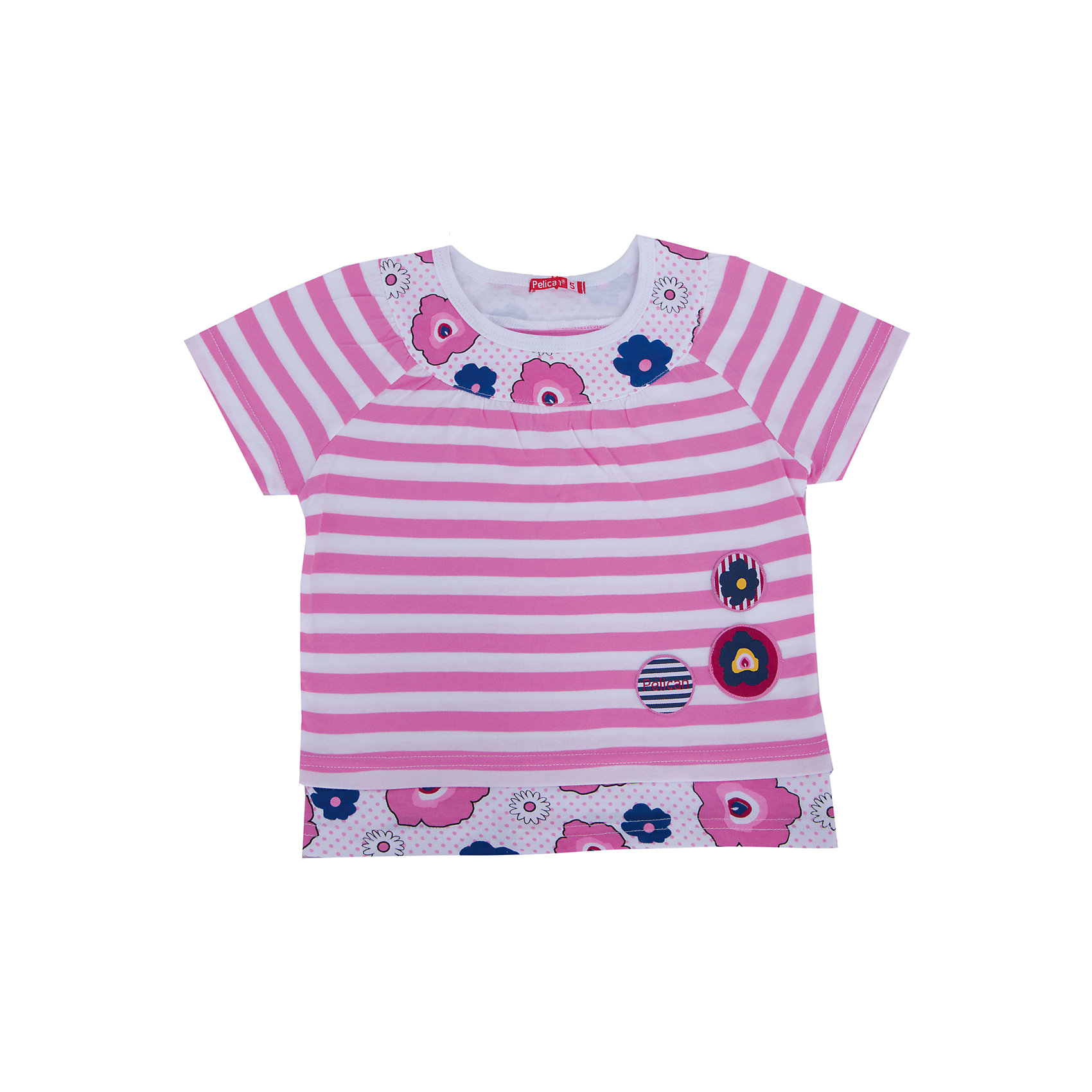 Футболка для девочки PELICANФутболки, поло и топы<br>Модная футболка для девочки поможет разнообразить гардероб ребенка, создать легкий подходящий погоде ансамбль. Удобный крой и качественный материал обеспечат ребенку комфорт при ношении этих вещей. <br>Футболка очень стильно смотрится благодаря актуальному дизайну. Изделие украшено модным принтом, контрастной вставкой на горловине. Рукава - короткие. Материал - легкий, отлично подходит для лета, состоит из дышащего натурального хлопка. Очень приятен на ощупь, не вызывает аллергии.<br><br>Дополнительная информация:<br><br>материал: 100% хлопок;<br>цвет: розовый;<br>принт;<br>рукава короткие.<br><br>Футболку для девочки от бренда PELICAN (Пеликан) можно купить в нашем магазине.<br><br>Ширина мм: 199<br>Глубина мм: 10<br>Высота мм: 161<br>Вес г: 151<br>Цвет: розовый<br>Возраст от месяцев: 48<br>Возраст до месяцев: 60<br>Пол: Женский<br>Возраст: Детский<br>Размер: 110,92,104,98,86<br>SKU: 4805143