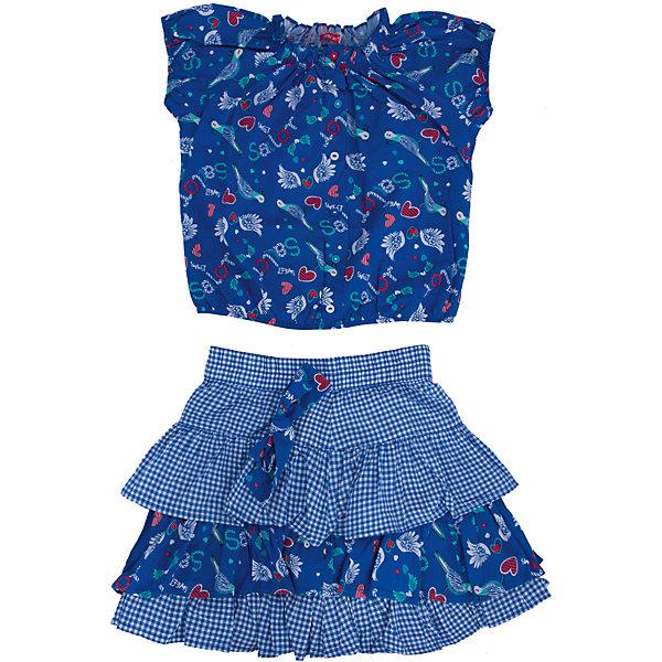 Комплект: блузка и юбка для девочки PELICANКомплекты<br>Стильный комплект для девочки состоит из блузки и юбки. Удобные вещи помогут разнообразить гардероб ребенка, создать подходящий погоде ансамбль. Удобный крой и качественный материал обеспечат ребенку комфорт при ношении этих вещей. <br>Комплект очень стильно смотрится благодаря актуальной в этот сезоне расцветке. Блузка - с модным принтом и короткими рукавами. Юбка украшена воланами и бантом. Материал - легкий, тонкий, отлично подходит для лета, состоит из дышащего натурального хлопка. Очень приятен на ощупь, не вызывает аллергии.<br><br>Дополнительная информация:<br><br>материал: 100% хлопок;<br>цвет: синий;<br>с принтом;<br>юбка декорирована воланами и бантом.<br><br>Комплект для девочки от бренда PELICAN (Пеликан) можно купить в нашем магазине.<br><br>Ширина мм: 207<br>Глубина мм: 10<br>Высота мм: 189<br>Вес г: 183<br>Цвет: синий<br>Возраст от месяцев: 48<br>Возраст до месяцев: 60<br>Пол: Женский<br>Возраст: Детский<br>Размер: 116,104,110,98<br>SKU: 4805149