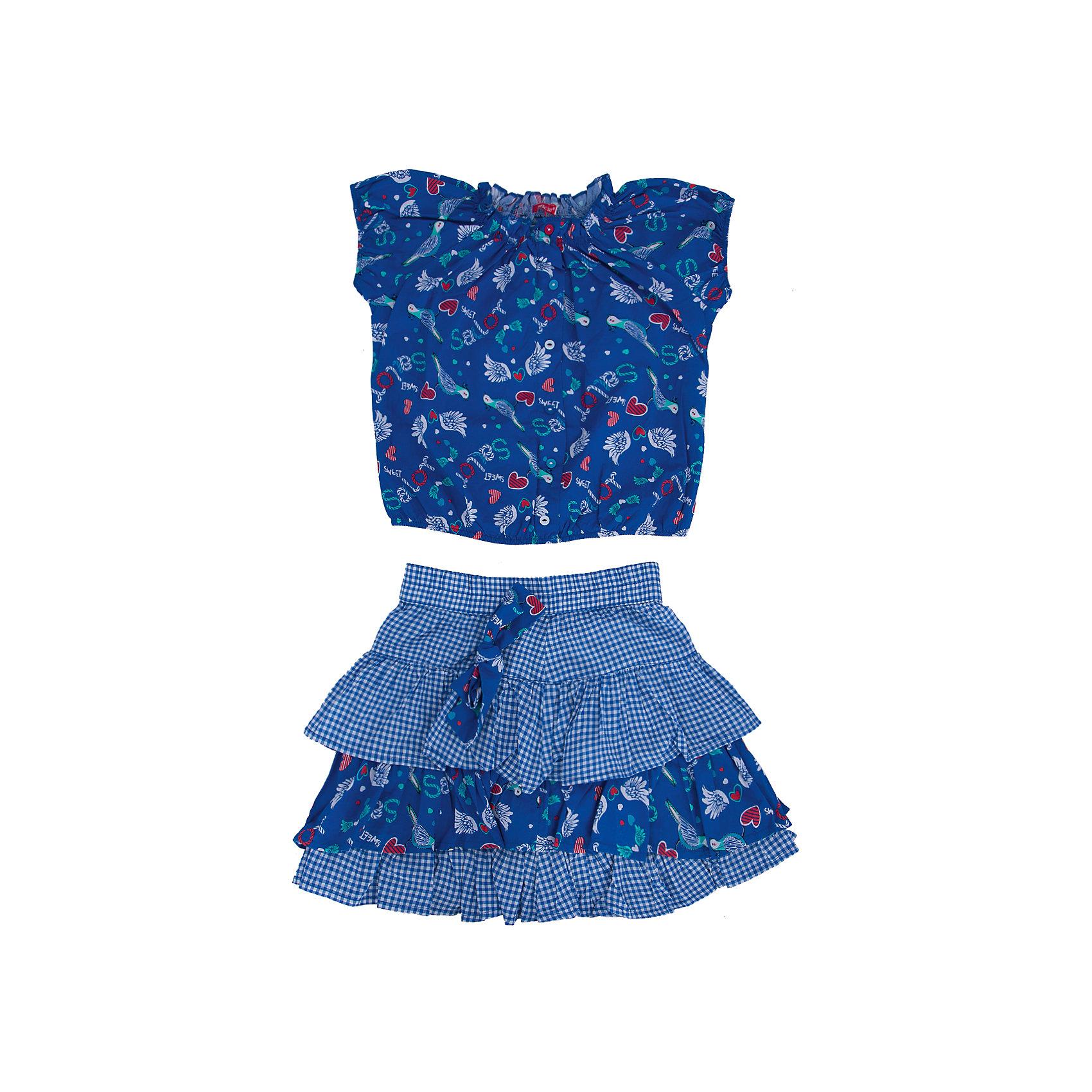 Комплект: блузка и юбка для девочки PELICANКомплекты<br>Стильный комплект для девочки состоит из блузки и юбки. Удобные вещи помогут разнообразить гардероб ребенка, создать подходящий погоде ансамбль. Удобный крой и качественный материал обеспечат ребенку комфорт при ношении этих вещей. <br>Комплект очень стильно смотрится благодаря актуальной в этот сезоне расцветке. Блузка - с модным принтом и короткими рукавами. Юбка украшена воланами и бантом. Материал - легкий, тонкий, отлично подходит для лета, состоит из дышащего натурального хлопка. Очень приятен на ощупь, не вызывает аллергии.<br><br>Дополнительная информация:<br><br>материал: 100% хлопок;<br>цвет: синий;<br>с принтом;<br>юбка декорирована воланами и бантом.<br><br>Комплект для девочки от бренда PELICAN (Пеликан) можно купить в нашем магазине.<br><br>Ширина мм: 207<br>Глубина мм: 10<br>Высота мм: 189<br>Вес г: 183<br>Цвет: синий<br>Возраст от месяцев: 48<br>Возраст до месяцев: 60<br>Пол: Женский<br>Возраст: Детский<br>Размер: 110,116,104,98<br>SKU: 4805149