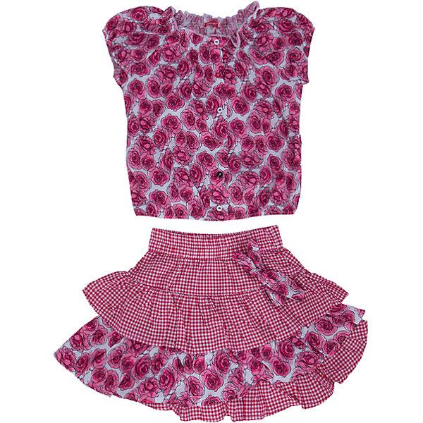 Комплект: блузка и юбка для девочки PELICANКомплекты<br>Стильный комплект для девочки состоит из блузки и юбки. Удобные вещи помогут разнообразить гардероб ребенка, создать подходящий погоде ансамбль. Удобный крой и качественный материал обеспечат ребенку комфорт при ношении этих вещей. <br>Комплект очень стильно смотрится благодаря актуальной в этот сезоне расцветке. Блузка - с модным принтом и короткими рукавами. Юбка украшена воланами и бантом. Материал - легкий, тонкий, отлично подходит для лета, состоит из дышащего натурального хлопка. Очень приятен на ощупь, не вызывает аллергии.<br><br>Дополнительная информация:<br><br>материал: 100% хлопок;<br>цвет: розовый;<br>с принтом;<br>юбка декорирована воланами и бантом.<br><br>Комплект для девочки от бренда PELICAN (Пеликан) можно купить в нашем магазине.<br><br>Ширина мм: 207<br>Глубина мм: 10<br>Высота мм: 189<br>Вес г: 183<br>Цвет: розовый<br>Возраст от месяцев: 24<br>Возраст до месяцев: 36<br>Пол: Женский<br>Возраст: Детский<br>Размер: 98,110,116,104<br>SKU: 4805154