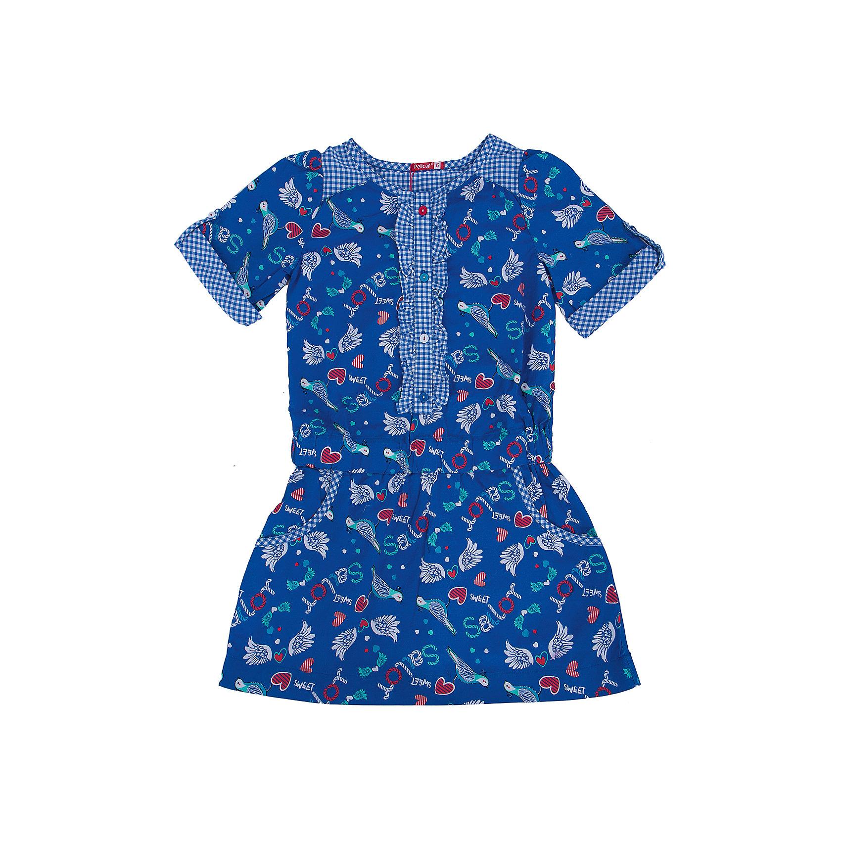 Платье для девочки PELICANПлатья и сарафаны<br>Удобное и модное платье для девочки смотрится очень нарядно. Оно поможет разнообразить гардероб ребенка, создать подходящий погоде ансамбль. Удобный крой и качественный материал обеспечат ребенку комфорт при ношении этих вещей. <br>Платье декорировано ярким принтом и оборками. Рукава короткие. Они и горловина обработаны клетчатой тканью. Материал платья состоит из дышащего натурального хлопка, гипоаллергенного, отлично подходящего для детской одежды. <br><br>Дополнительная информация:<br><br>материал: 100% хлопок;<br>цвет: синий;<br>карманы;<br>декорировано оборками и принтом.<br><br>Платье для девочки от бренда PELICAN (Пеликан) можно купить в нашем магазине.<br><br>Ширина мм: 236<br>Глубина мм: 16<br>Высота мм: 184<br>Вес г: 177<br>Цвет: синий<br>Возраст от месяцев: 24<br>Возраст до месяцев: 36<br>Пол: Женский<br>Возраст: Детский<br>Размер: 98,116,110,104<br>SKU: 4805164