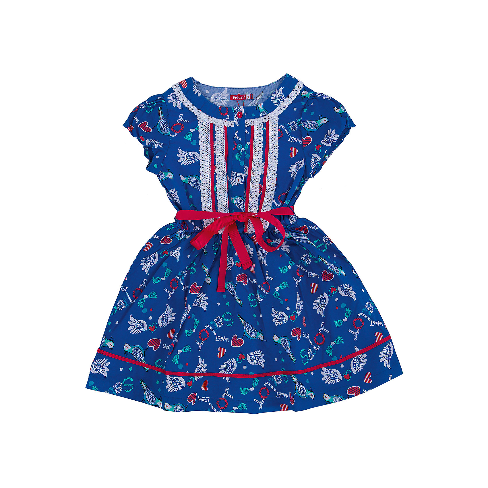 Платье для девочки PELICANПлатья и сарафаны<br>Легкое платье для девочки смотрится очень нарядно. Оно поможет разнообразить гардероб ребенка, создать подходящий погоде ансамбль. Удобный крой и качественный материал обеспечат ребенку комфорт при ношении этих вещей. <br>Платье декорировано ярким принтом и кружевами. Рукава короткие. Пояс обработан контрастной тканью. Материал платья состоит из дышащего натурального хлопка, гипоаллергенного, отлично подходящего для детской одежды. <br><br>Дополнительная информация:<br><br>материал: 100% хлопок;<br>цвет: синий;<br>кружева;<br>рукава короткие.<br><br>Платье для девочки от бренда PELICAN (Пеликан) можно купить в нашем магазине.<br><br>Ширина мм: 236<br>Глубина мм: 16<br>Высота мм: 184<br>Вес г: 177<br>Цвет: синий<br>Возраст от месяцев: 48<br>Возраст до месяцев: 60<br>Пол: Женский<br>Возраст: Детский<br>Размер: 110,116,104,98<br>SKU: 4805174