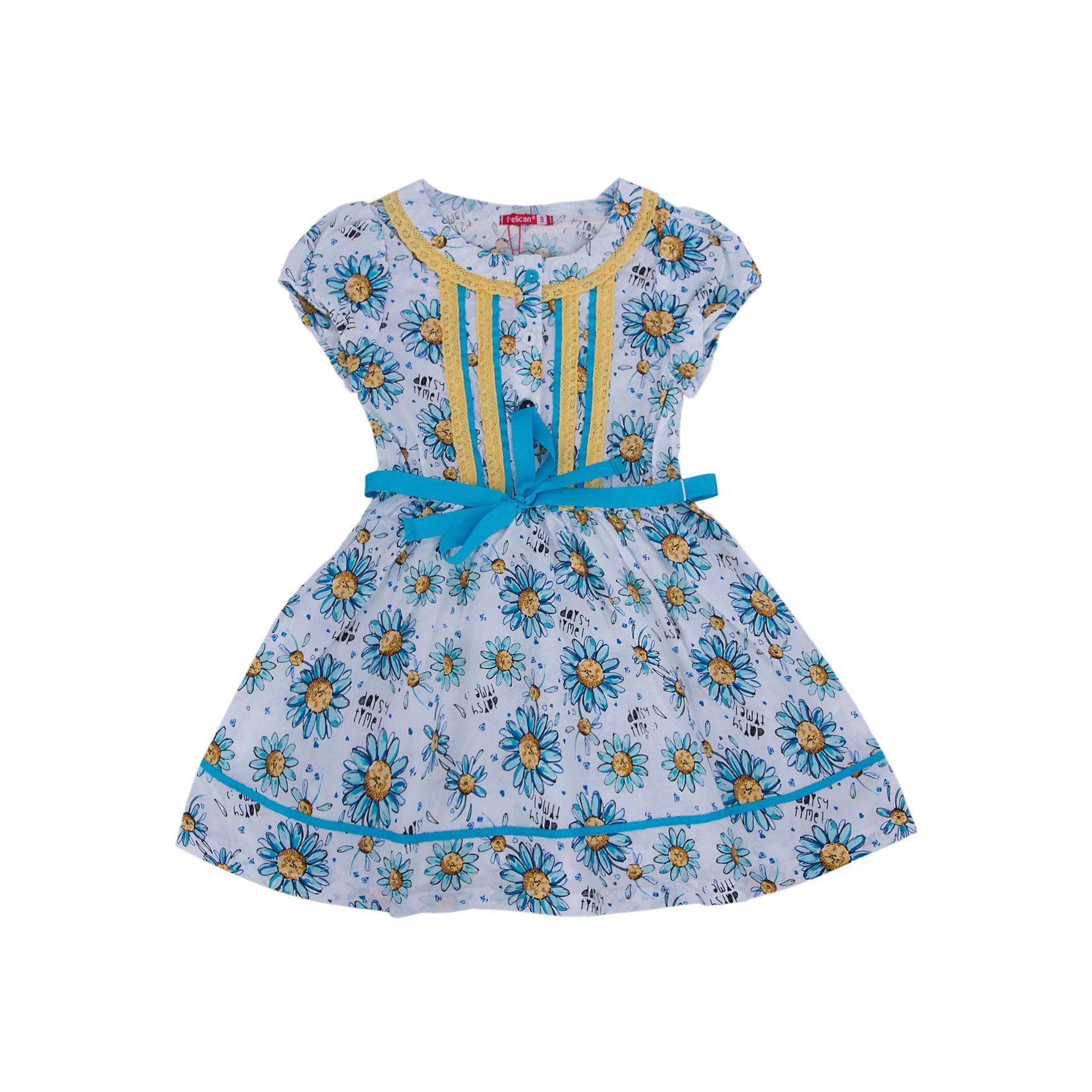 Платье для девочки PELICANЛегкое платье для девочки смотрится очень нарядно. Оно поможет разнообразить гардероб ребенка, создать подходящий погоде ансамбль. Удобный крой и качественный материал обеспечат ребенку комфорт при ношении этих вещей. <br>Платье декорировано ярким принтом и кружевами. Рукава короткие. Пояс обработан контрастной тканью. Материал платья состоит из дышащего натурального хлопка, гипоаллергенного, отлично подходящего для детской одежды. <br><br>Дополнительная информация:<br><br>материал: 100% хлопок;<br>цвет: разноцветный;<br>кружева;<br>рукава короткие.<br><br>Платье для девочки от бренда PELICAN (Пеликан) можно купить в нашем магазине.<br><br>Ширина мм: 236<br>Глубина мм: 16<br>Высота мм: 184<br>Вес г: 177<br>Цвет: желтый<br>Возраст от месяцев: 36<br>Возраст до месяцев: 48<br>Пол: Женский<br>Возраст: Детский<br>Размер: 104,98,110,116<br>SKU: 4805179