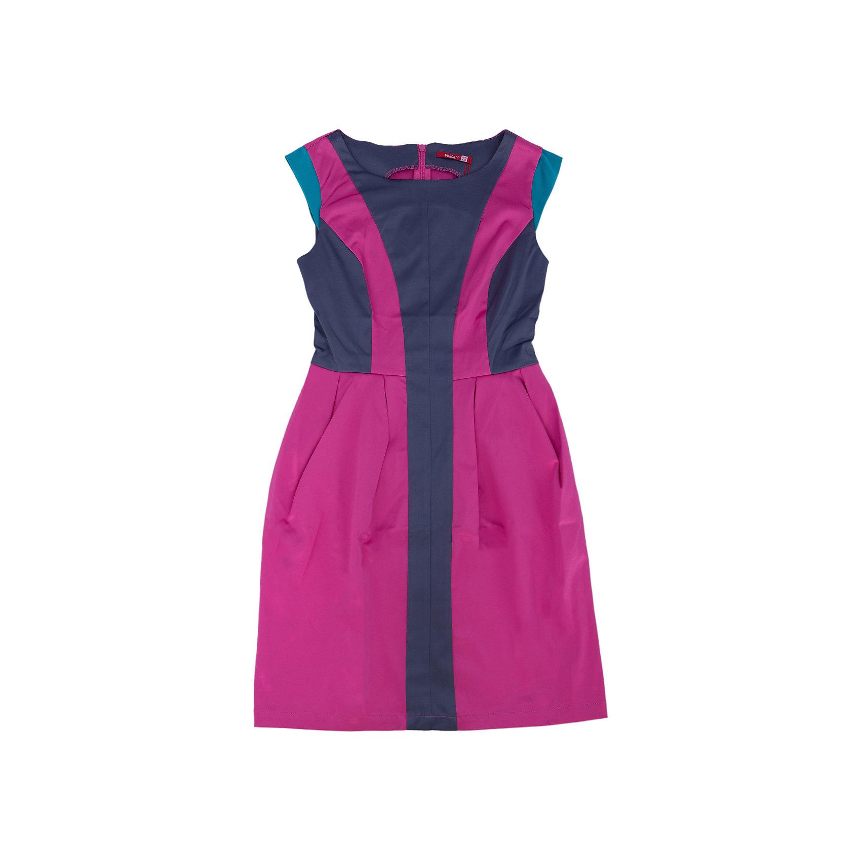 Платье для девочки PELICANБлестящее модное платье для девочки смотрится оригинально и нарядно. Оно поможет разнообразить гардероб ребенка, создать подходящий погоде ансамбль. Удобный крой и качественный материал обеспечат ребенку комфорт при ношении этого изделия. <br>Платье декорировано цветными вставками из такой же ткани с атласным блеском. Рукава короткие. На спине - молния. Материал платья частично состоит из дышащего натурального хлопка, гипоаллергенного, отлично подходящего для детской одежды. <br><br>Дополнительная информация:<br><br>материал: 55% полиэстер, 42% хлопок, 3% эластан;<br>цвет: розовый;<br>молния на спине;<br>декорировано контрастными вставками.<br><br>Платье для девочки от бренда PELICAN (Пеликан) можно купить в нашем магазине.<br><br>Ширина мм: 236<br>Глубина мм: 16<br>Высота мм: 184<br>Вес г: 177<br>Цвет: розовый<br>Возраст от месяцев: 156<br>Возраст до месяцев: 168<br>Пол: Женский<br>Возраст: Детский<br>Размер: 164,152,158<br>SKU: 4805194