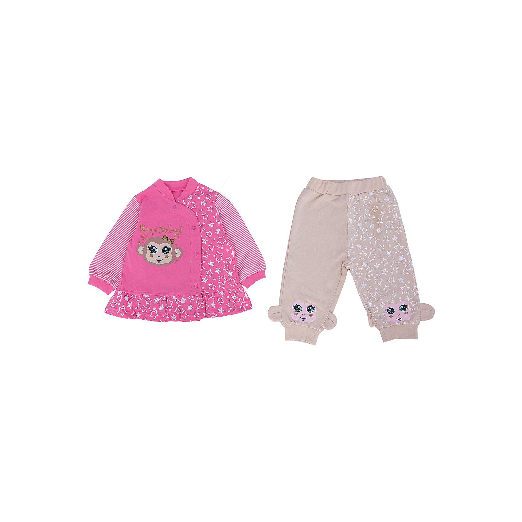 Комплект: кардиган и брюки  PELICANМодный комплект для девочки состоит из кардигана с длинным рукавом и брюк. Симпатичные брюки и кардиган помогут обеспечить малышу удобство и тепло. Удобный крой и качественный материал обеспечат ребенку комфорт при ношении этих вещей. <br>Брюки украшены принтом в виде мордочки обезьянки. Кардиган - также. Материал - легкий, отлично подходит для детской одежды, состоит из дышащего натурального хлопка с начесом. Очень приятен на ощупь, не вызывает аллергии.<br><br>Дополнительная информация:<br><br>материал: 100% хлопок,;<br>цвет: розовый;<br>декорирован с принтом.<br><br>Комплект для девочки от бренда PELICAN (Пеликан) можно купить в нашем магазине.<br><br>Ширина мм: 157<br>Глубина мм: 13<br>Высота мм: 119<br>Вес г: 200<br>Цвет: розовый<br>Возраст от месяцев: 6<br>Возраст до месяцев: 9<br>Пол: Унисекс<br>Возраст: Детский<br>Размер: 74,80,68<br>SKU: 4805215
