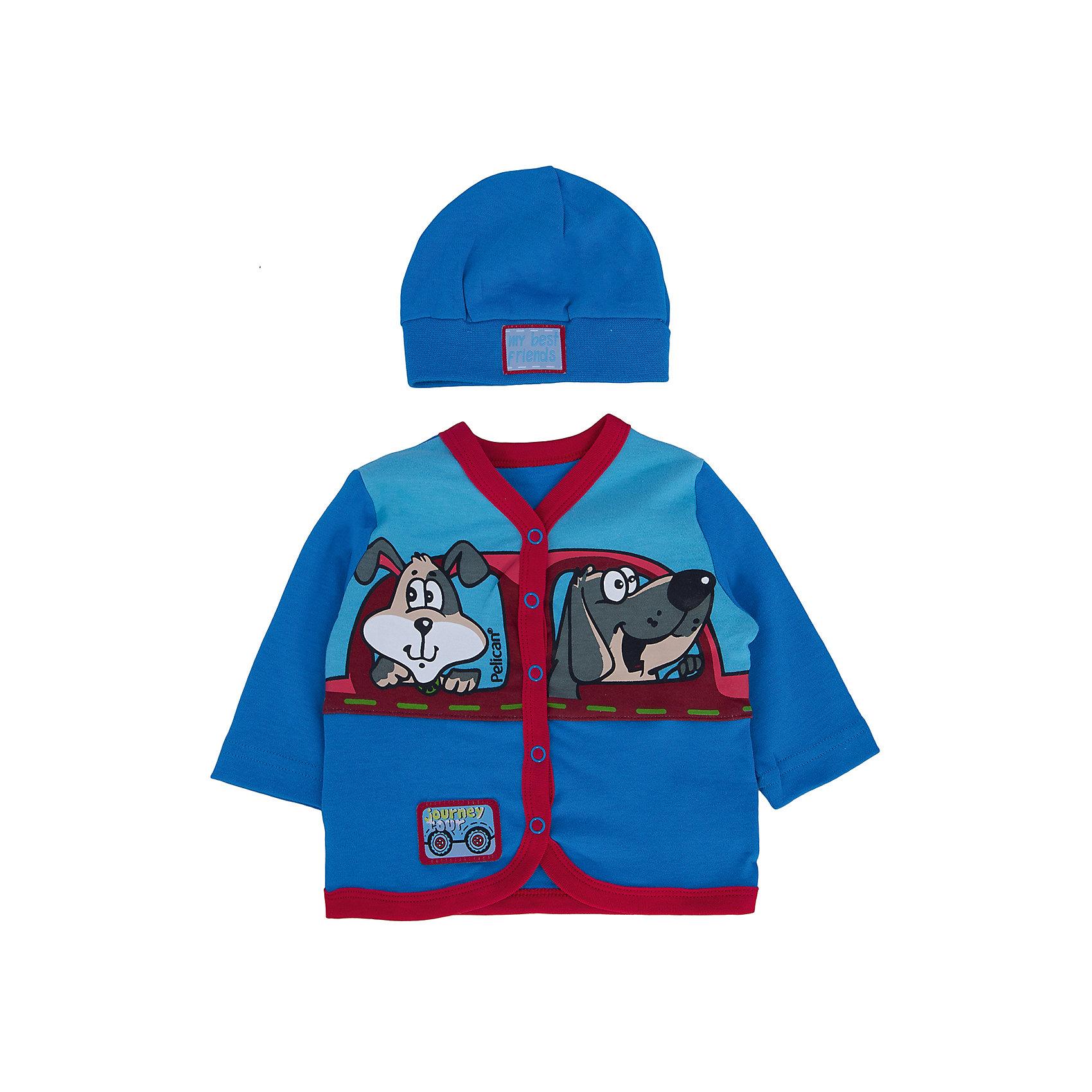 Комплект: кофточка и шапка  PELICANКомплекты<br>Модный и симпатичный комплект состоит из шапки и кофточки. Изделия помогут обеспечить малышу удобство и тепло. Удобный крой и качественный материал обеспечат ребенку комфорт при ношении этих вещей. <br>Шапочка украшена модной нашивкой. Кофточка декорирована ярким принтом, застегивается также с помощью кнопок. Материал - легкий, отлично подходит для детской одежды, состоит из дышащего натурального хлопка. Очень приятен на ощупь, не вызывает аллергии.<br><br>Дополнительная информация:<br><br>материал: 100% хлопок;<br>цвет: синий;<br>декорирован принтом и нашивками;<br>рукав длинные.<br><br>Комплект от бренда PELICAN (Пеликан) можно купить в нашем магазине.<br><br>Ширина мм: 157<br>Глубина мм: 13<br>Высота мм: 119<br>Вес г: 200<br>Цвет: голубой<br>Возраст от месяцев: 3<br>Возраст до месяцев: 6<br>Пол: Унисекс<br>Возраст: Детский<br>Размер: 68,62,74<br>SKU: 4805253