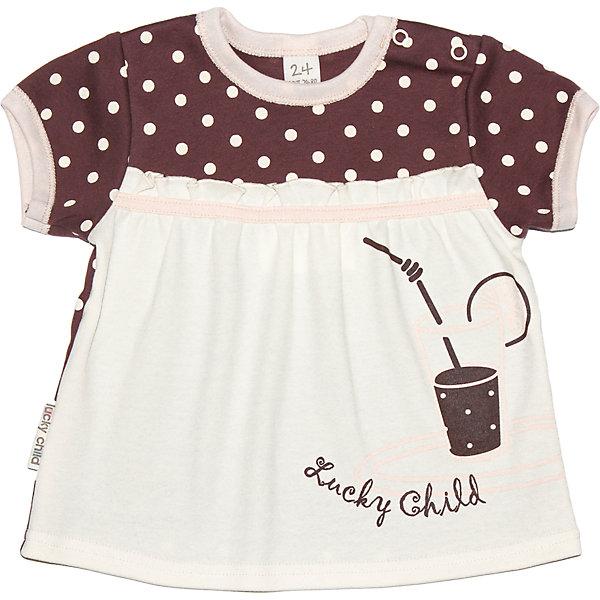 Футболка для девочки Lucky ChildФутболки, поло и топы<br>Футболка для девочки Lucky Child<br>От этой футболки невозможно оторвать взгляд! Удивительно мягкая и нежная на ощупь, она понравится даже самой взыскательной девочке. Вся наша одежда создается только из натуральных материалов, что на долгое время сохраняет ее прочность и цвета. Подберите к этой футболке шортики или юбочку и наряд можно считать готовым.<br>Состав : 100% хлопок<br><br>Ширина мм: 157<br>Глубина мм: 13<br>Высота мм: 119<br>Вес г: 200<br>Цвет: коричневый<br>Возраст от месяцев: 3<br>Возраст до месяцев: 6<br>Пол: Женский<br>Возраст: Детский<br>Размер: 62/68,68/74,116/122,80/86,86/92,92/98,74/80,98/104,104/110,110/116<br>SKU: 4807324
