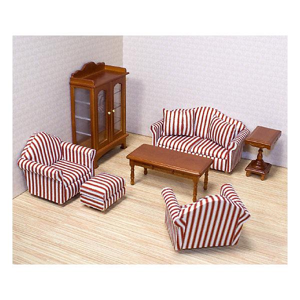 Мебель Гостинная (для викторианского дома), Melissa&amp;DougМебель для кукол<br>Это так просто украсить вашу гостиную с помощью набора из 9 роскошных предметов мебели. Диван с приподнятым изголовьем и изящный шкаф - этот набор включает в себя достаточно предметов мебели, чтобы полностью обставить гостиную. Детально проработанная деревянная мебель ручной работы с обивкой, открывающимися ящиками и дверями! Набор идеально подходит для всех кукольных домов в масштабе 1:12 Размеры в упаковке: 22.8 x 27.9 x 8.4 см Возраст: от 6 лет<br><br>Ширина мм: 280<br>Глубина мм: 80<br>Высота мм: 230<br>Вес г: 635<br>Возраст от месяцев: 60<br>Возраст до месяцев: 192<br>Пол: Женский<br>Возраст: Детский<br>SKU: 4807390