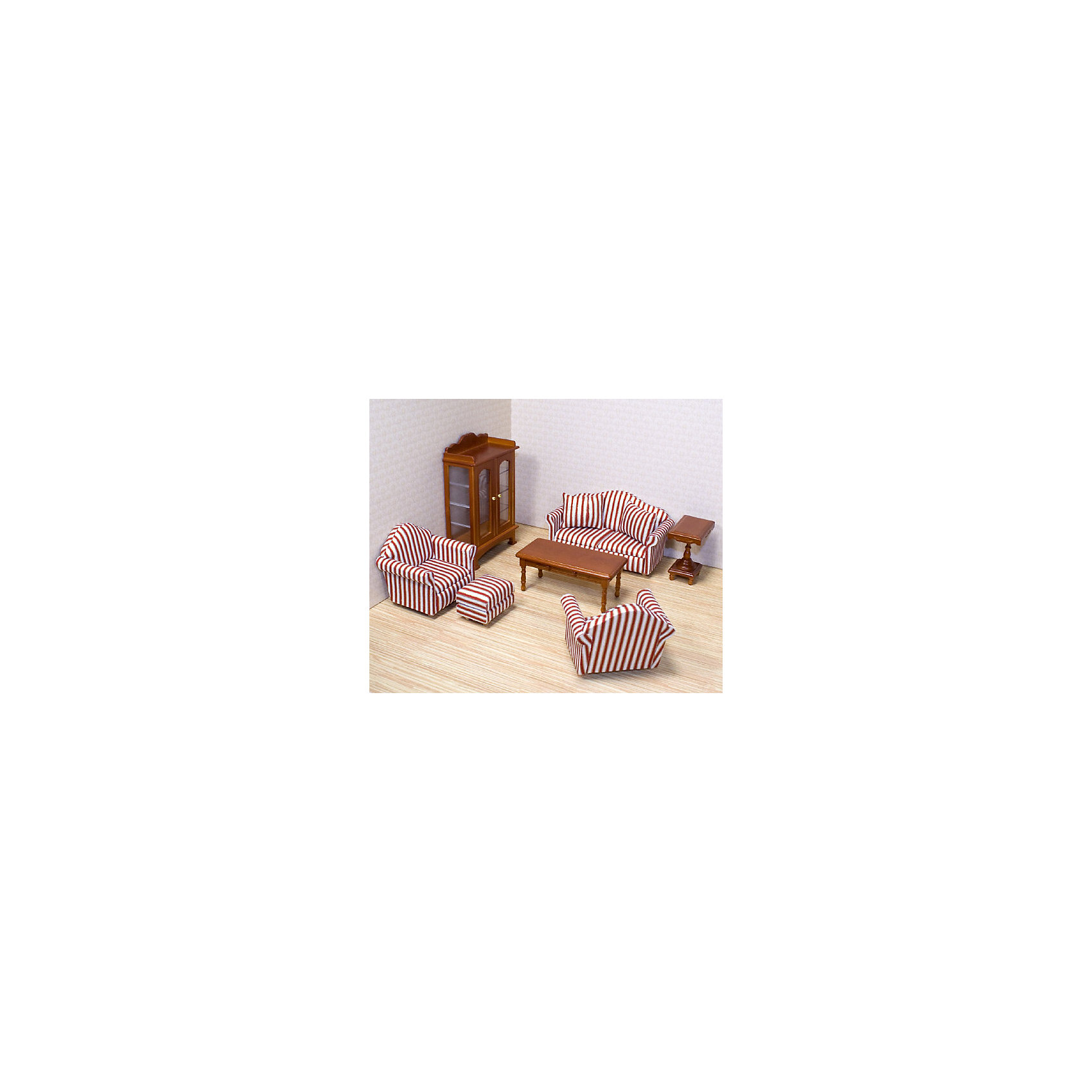 Мебель Гостинная (для викторианского дома), Melissa&amp;DougЭто так просто украсить вашу гостиную с помощью набора из 9 роскошных предметов мебели. Диван с приподнятым изголовьем и изящный шкаф - этот набор включает в себя достаточно предметов мебели, чтобы полностью обставить гостиную. Детально проработанная деревянная мебель ручной работы с обивкой, открывающимися ящиками и дверями! Набор идеально подходит для всех кукольных домов в масштабе 1:12 Размеры в упаковке: 22.8 x 27.9 x 8.4 см Возраст: от 6 лет<br><br>Ширина мм: 280<br>Глубина мм: 80<br>Высота мм: 230<br>Вес г: 635<br>Возраст от месяцев: 60<br>Возраст до месяцев: 192<br>Пол: Женский<br>Возраст: Детский<br>SKU: 4807390