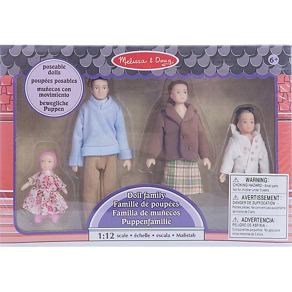 Куклы Семья (для викторианского дома), Melissa&amp;DougКуклы<br>Это милая семья, состоящая из мамы, папы и двух дочек,  ищет хороший дом. Руки  и ноги у виниловых кукол сгибаются! Набор  идеально подходит для всех кукольных домов в  масштабе 1:12<br><br>Ширина мм: 270<br>Глубина мм: 50<br>Высота мм: 190<br>Вес г: 275<br>Возраст от месяцев: 60<br>Возраст до месяцев: 192<br>Пол: Женский<br>Возраст: Детский<br>SKU: 4807391