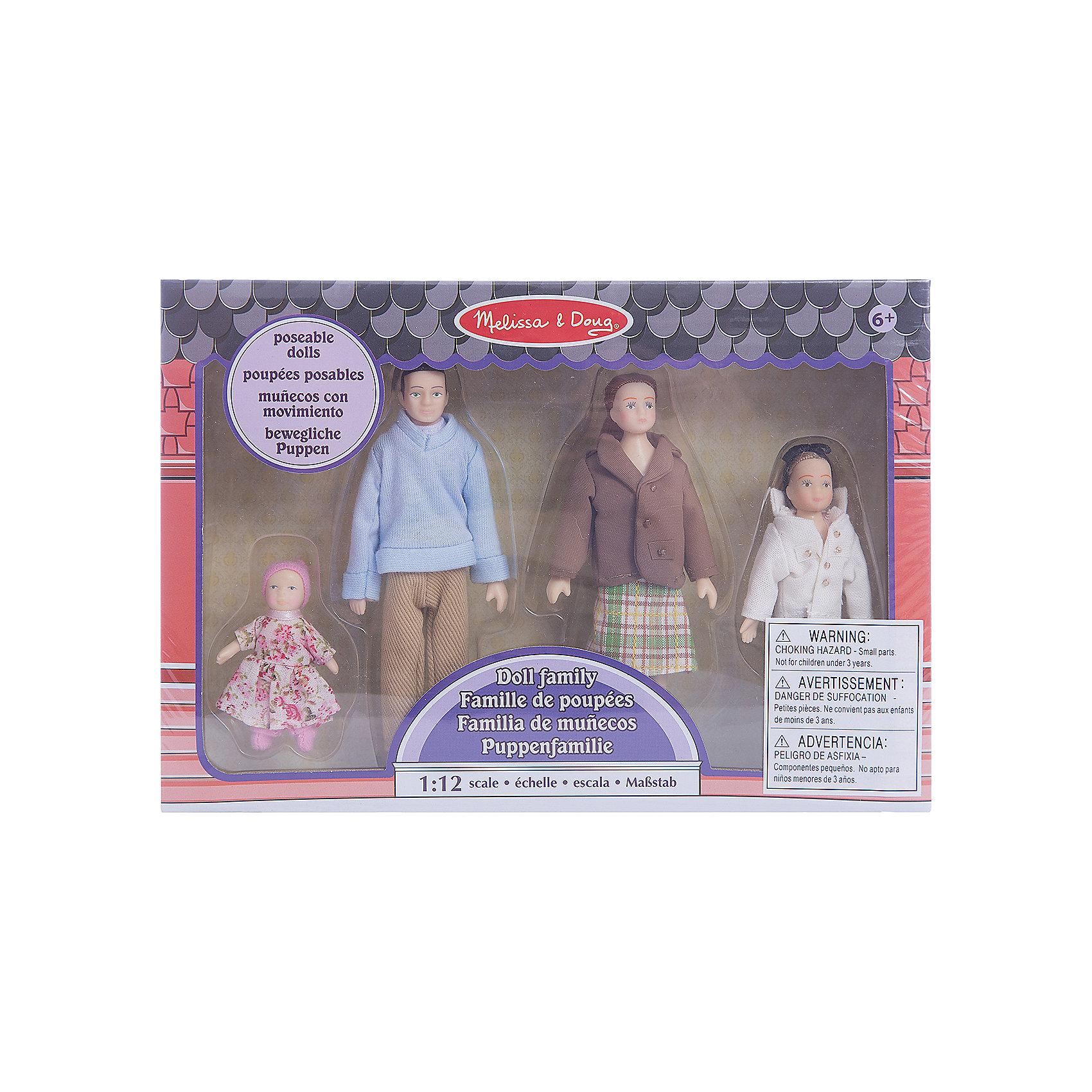 Куклы Семья (для викторианского дома), Melissa&amp;DougЭто милая семья, состоящая из мамы, папы и двух дочек,  ищет хороший дом. Руки  и ноги у виниловых кукол сгибаются! Набор  идеально подходит для всех кукольных домов в  масштабе 1:12<br><br>Ширина мм: 270<br>Глубина мм: 50<br>Высота мм: 190<br>Вес г: 275<br>Возраст от месяцев: 60<br>Возраст до месяцев: 192<br>Пол: Женский<br>Возраст: Детский<br>SKU: 4807391