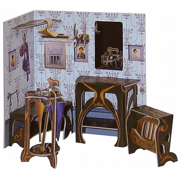 Сборная модель ПрихожаяМодели из бумаги<br>Прихожая – один из серии наборов мебели под названием «Коллекционный набор мебели». Каждый из них является самодостаточным игровым объектом, но в тоже время они прекрасно подойдут и к Кукольному дому, в котором ребенок сможет их разместить с большим удовольствием для себя, друзей и родителей.<br><br>Количество деталей: 23.<br>Сложность сборки: 2.<br>Размер прихожей: 13х7х14 см.<br>Размер газетницы: 5,5х2,5х4,5 см.<br>Размер подставки для зонтов: 4,5х4,5х8 см.<br>Материал: переплетный картон.<br>Возраст: 5+.<br><br>Ширина мм: 180<br>Глубина мм: 5<br>Высота мм: 240<br>Вес г: 68<br>Возраст от месяцев: 60<br>Возраст до месяцев: 2147483647<br>Пол: Унисекс<br>Возраст: Детский<br>SKU: 4807392