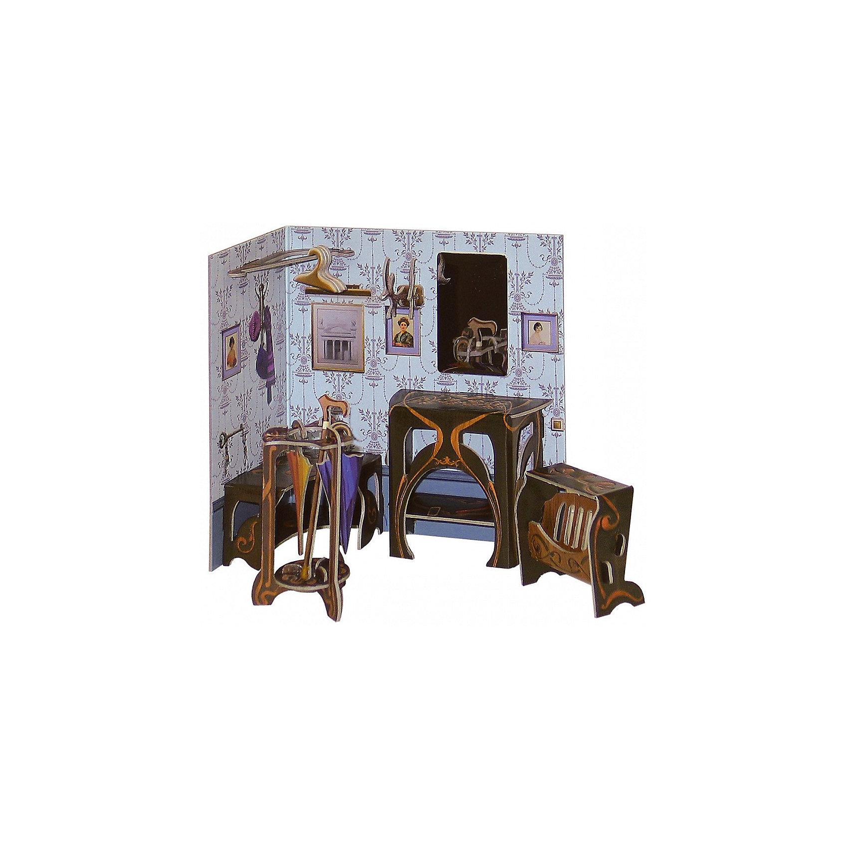 Сборная модель ПрихожаяБумажные модели<br>Прихожая – один из серии наборов мебели под названием «Коллекционный набор мебели». Каждый из них является самодостаточным игровым объектом, но в тоже время они прекрасно подойдут и к Кукольному дому, в котором ребенок сможет их разместить с большим удовольствием для себя, друзей и родителей.<br><br>Количество деталей: 23.<br>Сложность сборки: 2.<br>Размер прихожей: 13х7х14 см.<br>Размер газетницы: 5,5х2,5х4,5 см.<br>Размер подставки для зонтов: 4,5х4,5х8 см.<br>Материал: переплетный картон.<br>Возраст: 5+.<br><br>Ширина мм: 180<br>Глубина мм: 5<br>Высота мм: 240<br>Вес г: 68<br>Возраст от месяцев: 60<br>Возраст до месяцев: 2147483647<br>Пол: Унисекс<br>Возраст: Детский<br>SKU: 4807392