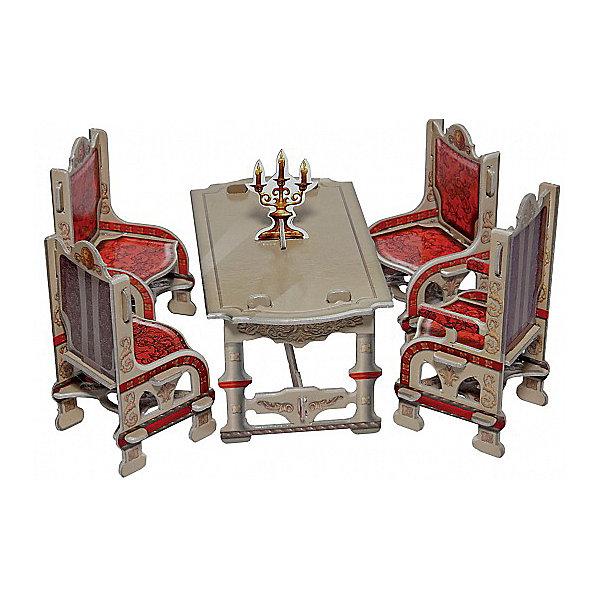 Сборная модель СтоловаяМодели из бумаги<br>Мебель доступна в двух вариантах - в светлом и темном исполнении. В комплект, кроме обеденного стола, входят три стула и кресло. Кресло отличается высокой спинкой. Интересное дополнение - подсвечник. В наборе есть все для самостоятельной сборки столовой. Нет необходимости при подготовке вырезать детали. Детали соединяются друг с другом без клея. После сборки набор можно использовать для игры. Конструкция достаточно прочна и стабильна. Набор отличается простой и понятной сборкой. Его можно смело рекомендовать детям, которые не имеют опыта сборки наших игрушек.<br><br>Количество деталей: 26.<br>Сложность сборки: 1.<br>Размер стола: 7x12x6,5 см.<br>Размер стула: 5x5x9 см.<br>Размер кресла: 5x5x10 см.<br>Материал: переплетный картон.<br><br>Ширина мм: 175<br>Глубина мм: 5<br>Высота мм: 245<br>Вес г: 64<br>Возраст от месяцев: 60<br>Возраст до месяцев: 2147483647<br>Пол: Унисекс<br>Возраст: Детский<br>SKU: 4807393