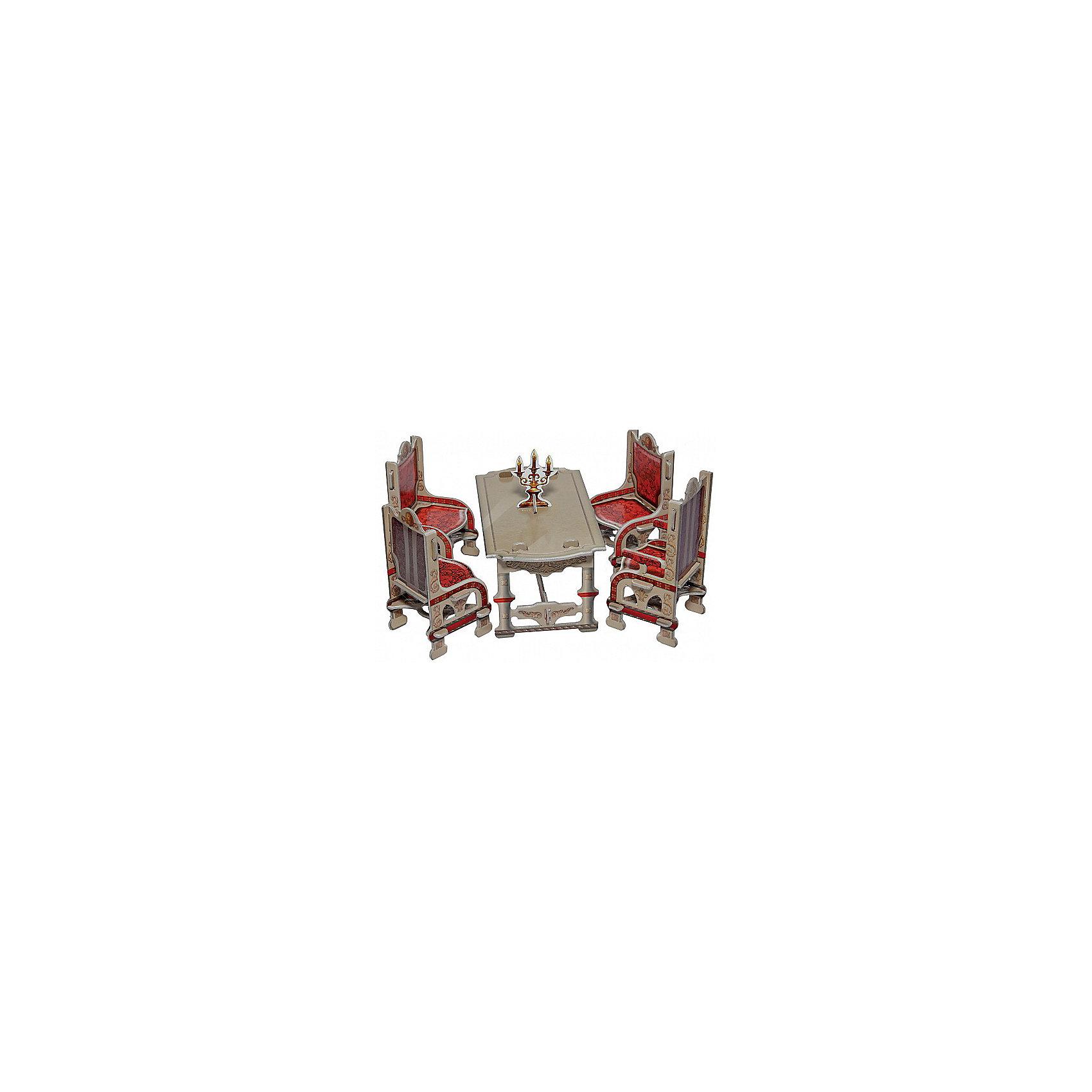 Сборная модель СтоловаяБумажные модели<br>Мебель доступна в двух вариантах - в светлом и темном исполнении. В комплект, кроме обеденного стола, входят три стула и кресло. Кресло отличается высокой спинкой. Интересное дополнение - подсвечник. В наборе есть все для самостоятельной сборки столовой. Нет необходимости при подготовке вырезать детали. Детали соединяются друг с другом без клея. После сборки набор можно использовать для игры. Конструкция достаточно прочна и стабильна. Набор отличается простой и понятной сборкой. Его можно смело рекомендовать детям, которые не имеют опыта сборки наших игрушек.<br><br>Количество деталей: 26.<br>Сложность сборки: 1.<br>Размер стола: 7x12x6,5 см.<br>Размер стула: 5x5x9 см.<br>Размер кресла: 5x5x10 см.<br>Материал: переплетный картон.<br><br>Ширина мм: 175<br>Глубина мм: 5<br>Высота мм: 245<br>Вес г: 64<br>Возраст от месяцев: 60<br>Возраст до месяцев: 2147483647<br>Пол: Унисекс<br>Возраст: Детский<br>SKU: 4807393
