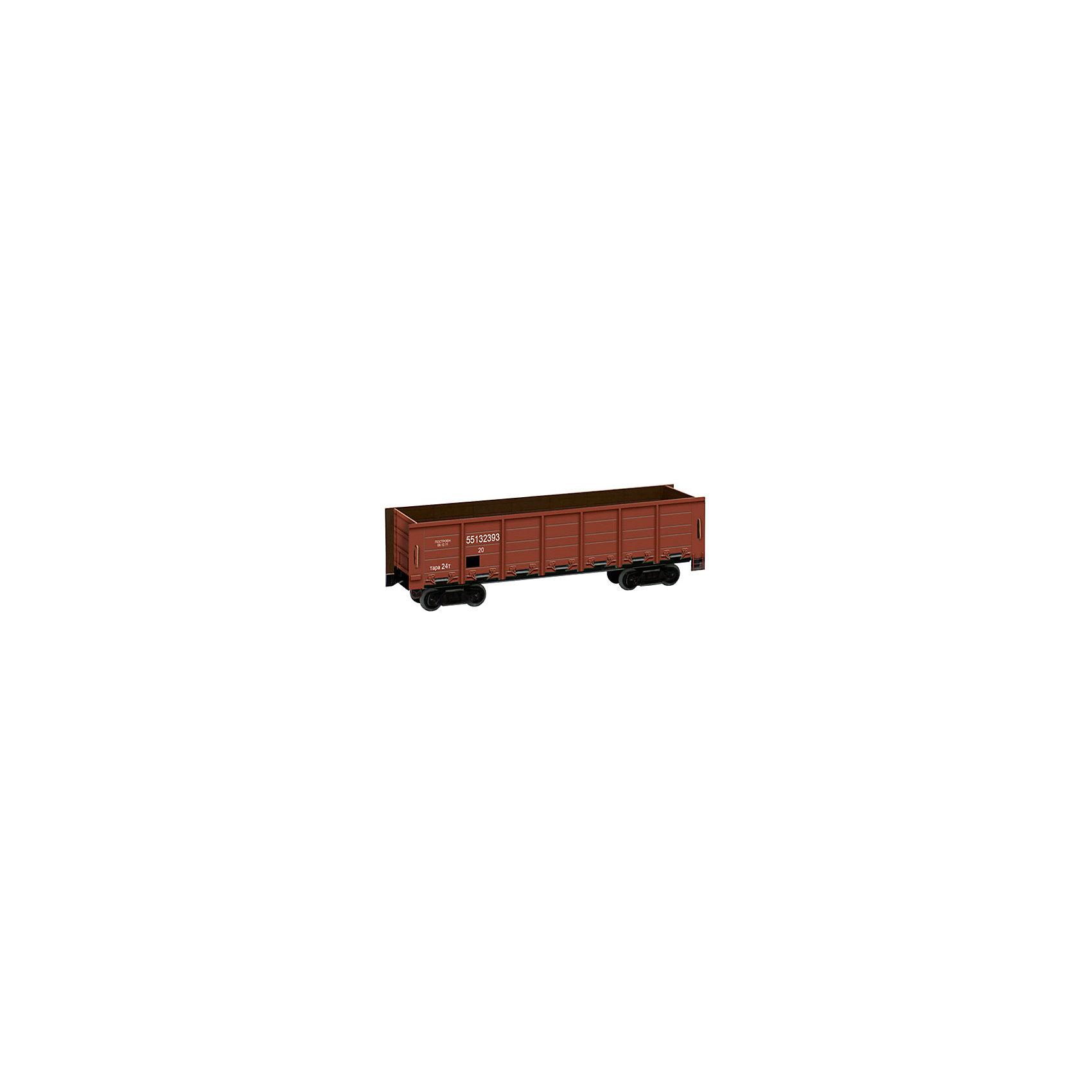 Сборная модель ПолувагонМодели из картона и бумаги<br>Полувагон (коричневый)<br>Полувагон - грузовой вагон с высокими бортами без крыши для перевозки грузов, не требующих защиты от атмосферных осадков. Может иметь разгрузочные люки в полу и раскрывающиеся боковые стенки или глухой кузов. Бывают двух типов: люковые и глуходонные.<br><br>Количество деталей: 20.<br>Сложность сборки: 1.<br>Масштаб: 1:87.<br>Размер модели: 16,5х5х4 см.<br>Материалы: двойной картон.<br>Возраст: 7+.<br><br>Ширина мм: 170<br>Глубина мм: 2<br>Высота мм: 240<br>Вес г: 48<br>Возраст от месяцев: 84<br>Возраст до месяцев: 2147483647<br>Пол: Унисекс<br>Возраст: Детский<br>SKU: 4807395