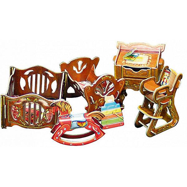 Сборная модель Набор мебели ДетскаяМодели из бумаги<br>Детская - cюжетный игровой набор из плотного картона. Серия: Кукольный дом и мебель. Количество деталей, шт: 20. Размер в собранном виде, см: Манеж - 7 х 7 х 5. Кроватка - 7 х 6,5 х 6,5. Столик - 6 х 5 х 7,5. Стульчик - 3 х 5 х 7. Лошадка - 1,5 х 6,5 х 5,5.. Размер упаковки, мм.:  высота 250 ширина 175 глубина 3. Тип упаковки: Пакет ПП с подвесом. Вес, гр.: 104. Возраст: от 7 лет. Все модели и игрушки, созданные по технологии УМНАЯ БУМАГА собираются без ножниц и клея, что является их неповторимой особенностью.<br>Принцип соединения деталей запатентован. Соединения деталей продуманы и просчитаны с такой точностью, что при правильной сборке с моделью можно играть, как с обычной игрушкой.<br>Ширина мм: 175; Глубина мм: 3; Высота мм: 250; Вес г: 104; Возраст от месяцев: 84; Возраст до месяцев: 2147483647; Пол: Унисекс; Возраст: Детский; SKU: 4807409;