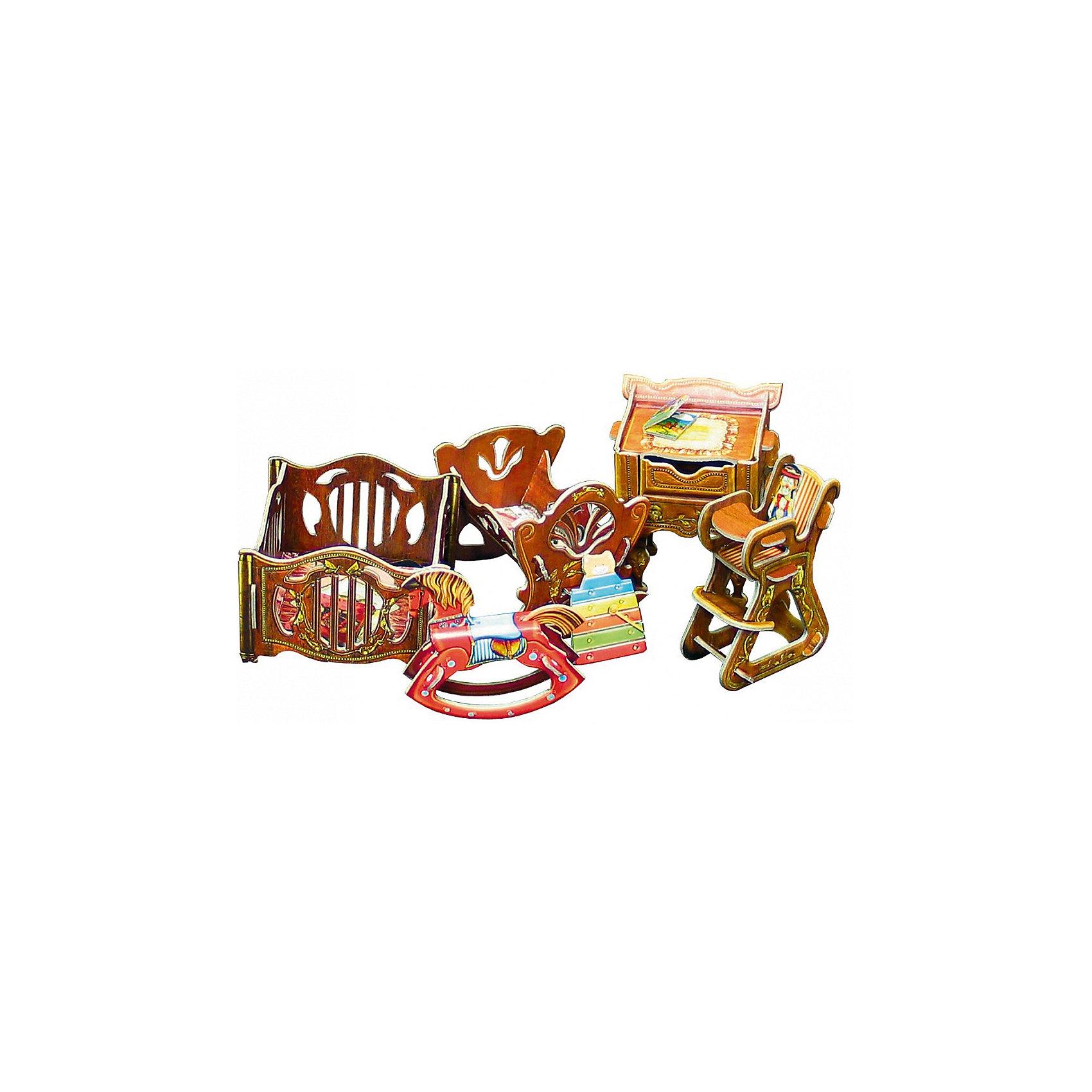 Сборная модель Набор мебели ДетскаяДетская - cюжетный игровой набор из плотного картона. Серия: Кукольный дом и мебель. Количество деталей, шт: 20. Размер в собранном виде, см: Манеж - 7 х 7 х 5. Кроватка - 7 х 6,5 х 6,5. Столик - 6 х 5 х 7,5. Стульчик - 3 х 5 х 7. Лошадка - 1,5 х 6,5 х 5,5.. Размер упаковки, мм.:  высота 250 ширина 175 глубина 3. Тип упаковки: Пакет ПП с подвесом. Вес, гр.: 104. Возраст: от 7 лет. Все модели и игрушки, созданные по технологии УМНАЯ БУМАГА собираются без ножниц и клея, что является их неповторимой особенностью.<br>Принцип соединения деталей запатентован. Соединения деталей продуманы и просчитаны с такой точностью, что при правильной сборке с моделью можно играть, как с обычной игрушкой.<br><br>Ширина мм: 175<br>Глубина мм: 3<br>Высота мм: 250<br>Вес г: 104<br>Возраст от месяцев: 84<br>Возраст до месяцев: 2147483647<br>Пол: Унисекс<br>Возраст: Детский<br>SKU: 4807409
