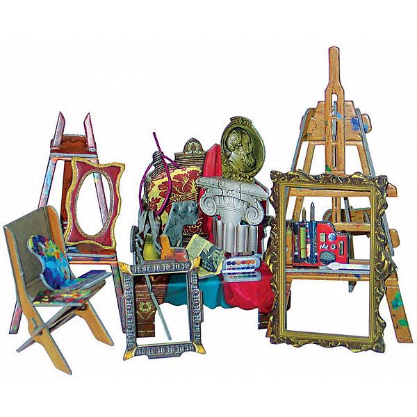 Сборная модель Коллекционный набор мебели Мастерская художникаМодели из бумаги<br>Мастерская художника - cюжетный игровой набор из плотного картона. Серия: Кукольный дом и мебель. Количество деталей, шт: 40. Размер в собранном виде, см: Мольберт - 7 х 6 х 13,5. Мольберт - 6 х 5,5 х 10. Кресло - 8 х 6,5 х 10. Стул складной - 3,5 х 5 х 6.. Размер упаковки, мм.:  высота 250 ширина 175 глубина 3. Тип упаковки: Пакет ПП с подвесом. Вес, гр.: 114. Возраст: от 7 лет. Все модели и игрушки, созданные по технологии УМНАЯ БУМАГА собираются без ножниц и клея, что является их неповторимой особенностью.<br>Принцип соединения деталей запатентован. Соединения деталей продуманы и просчитаны с такой точностью, что при правильной сборке с моделью можно играть, как с обычной игрушкой.<br>Ширина мм: 175; Глубина мм: 3; Высота мм: 250; Вес г: 114; Возраст от месяцев: 84; Возраст до месяцев: 2147483647; Пол: Унисекс; Возраст: Детский; SKU: 4807412;