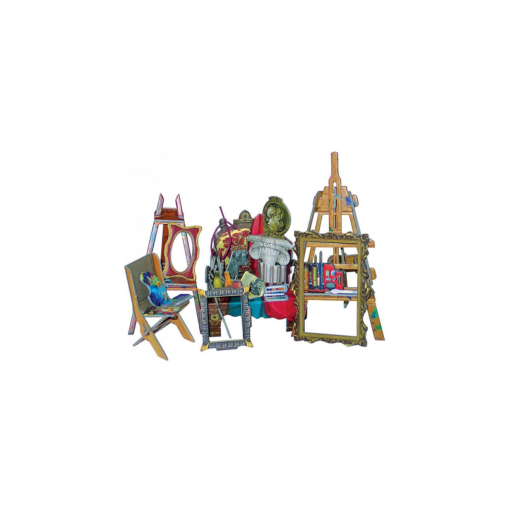 Сборная модель Коллекционный набор мебели Мастерская художникаМодели из картона и бумаги<br>Мастерская художника - cюжетный игровой набор из плотного картона. Серия: Кукольный дом и мебель. Количество деталей, шт: 40. Размер в собранном виде, см: Мольберт - 7 х 6 х 13,5. Мольберт - 6 х 5,5 х 10. Кресло - 8 х 6,5 х 10. Стул складной - 3,5 х 5 х 6.. Размер упаковки, мм.:  высота 250 ширина 175 глубина 3. Тип упаковки: Пакет ПП с подвесом. Вес, гр.: 114. Возраст: от 7 лет. Все модели и игрушки, созданные по технологии УМНАЯ БУМАГА собираются без ножниц и клея, что является их неповторимой особенностью.<br>Принцип соединения деталей запатентован. Соединения деталей продуманы и просчитаны с такой точностью, что при правильной сборке с моделью можно играть, как с обычной игрушкой.<br><br>Ширина мм: 175<br>Глубина мм: 3<br>Высота мм: 250<br>Вес г: 114<br>Возраст от месяцев: 84<br>Возраст до месяцев: 2147483647<br>Пол: Унисекс<br>Возраст: Детский<br>SKU: 4807412