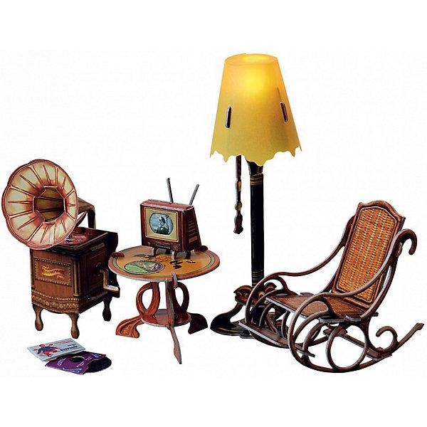 Сборная модель Торшер с обстановкойМодели из бумаги<br>Торшер и обстановка - Сюжетный игровой набор из плотного картона. Серия: Кукольный дом и мебель. Количество деталей, шт: 42. Размер в собранном виде, см: Торшер - 17 х 5,5 х 5,5. Граммофон - 11,5 х 5,5 х 7. Кресло - 9 х 5 х 10,5. Столик - 5,5 х 6,5 х 6,5. Телевизор - 4 х 3,5 х 3.. Размер упаковки, мм.:  высота 264 ширина 180 глубина 19. Тип упаковки: Картонная коробка. Вес, гр.: 166. Возраст: от 7 лет. Все модели и игрушки, созданные по технологии УМНАЯ БУМАГА собираются без ножниц и клея, что является их неповторимой особенностью.<br>Принцип соединения деталей запатентован. Соединения деталей продуманы и просчитаны с такой точностью, что при правильной сборке с моделью можно играть, как с обычной игрушкой.<br>Ширина мм: 180; Глубина мм: 19; Высота мм: 264; Вес г: 166; Возраст от месяцев: 84; Возраст до месяцев: 2147483647; Пол: Унисекс; Возраст: Детский; SKU: 4807415;