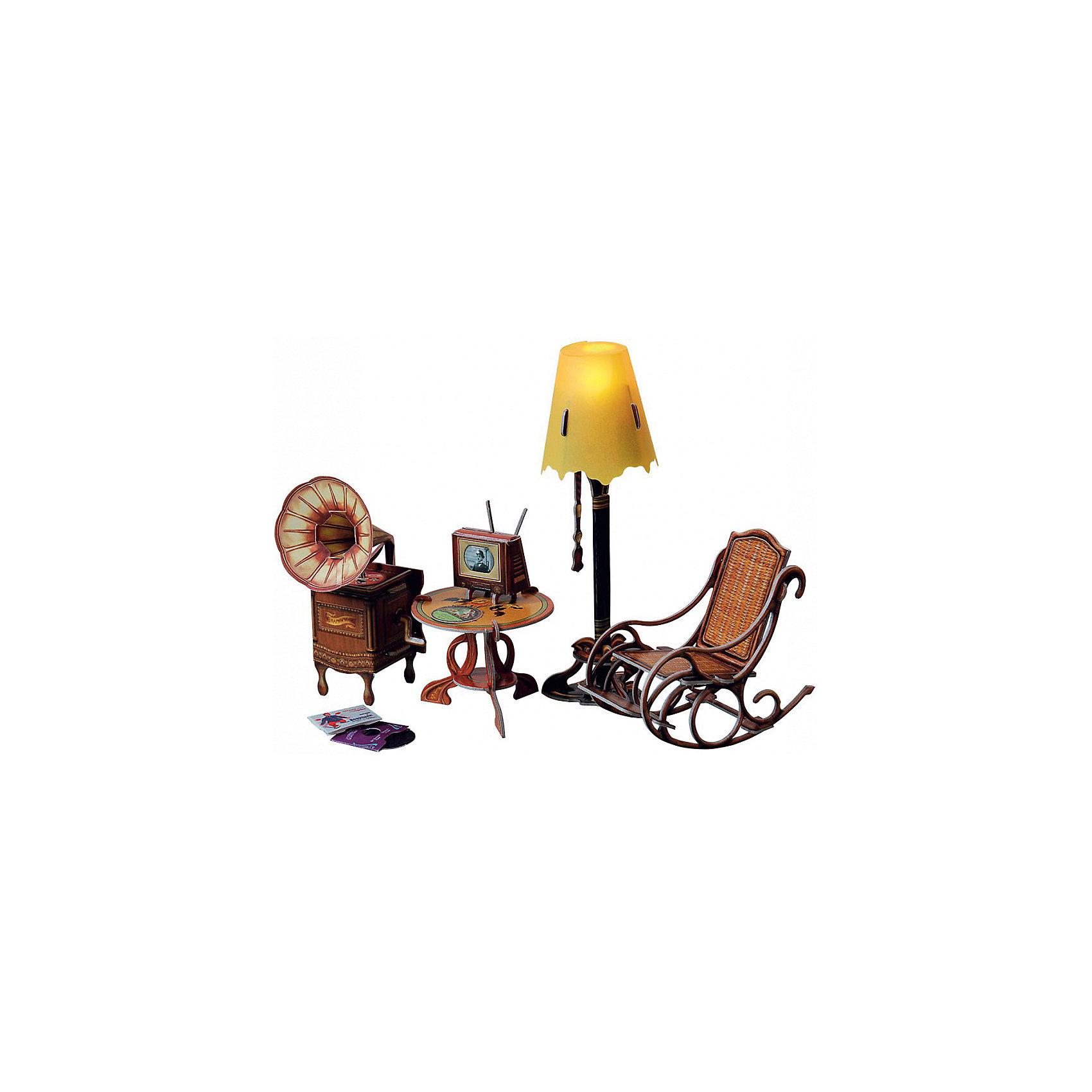 Сборная модель Торшер с обстановкойМодели из картона и бумаги<br>Торшер и обстановка - Сюжетный игровой набор из плотного картона. Серия: Кукольный дом и мебель. Количество деталей, шт: 42. Размер в собранном виде, см: Торшер - 17 х 5,5 х 5,5. Граммофон - 11,5 х 5,5 х 7. Кресло - 9 х 5 х 10,5. Столик - 5,5 х 6,5 х 6,5. Телевизор - 4 х 3,5 х 3.. Размер упаковки, мм.:  высота 264 ширина 180 глубина 19. Тип упаковки: Картонная коробка. Вес, гр.: 166. Возраст: от 7 лет. Все модели и игрушки, созданные по технологии УМНАЯ БУМАГА собираются без ножниц и клея, что является их неповторимой особенностью.<br>Принцип соединения деталей запатентован. Соединения деталей продуманы и просчитаны с такой точностью, что при правильной сборке с моделью можно играть, как с обычной игрушкой.<br><br>Ширина мм: 180<br>Глубина мм: 19<br>Высота мм: 264<br>Вес г: 166<br>Возраст от месяцев: 84<br>Возраст до месяцев: 2147483647<br>Пол: Унисекс<br>Возраст: Детский<br>SKU: 4807415