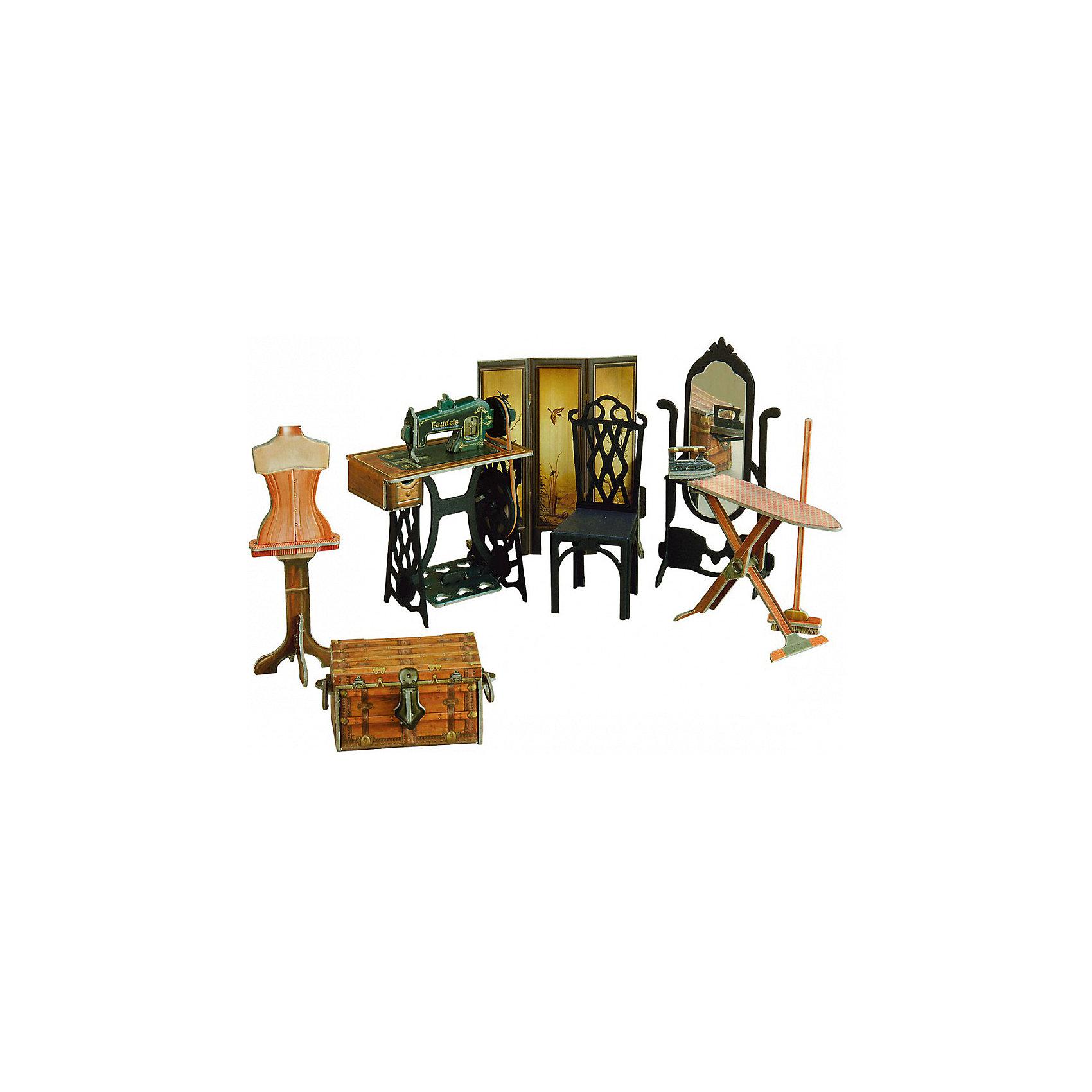 Сборная модель Швейная мастерскаяШвейная мастерская - Сюжетный игровой набор из плотного картона. Серия: Кукольный дом и мебель. Количество деталей, шт: 40. Размер в собранном виде, см: . Размер упаковки, мм.:  высота 264 ширина 180 глубина 19. Тип упаковки: Картонная коробка. Вес, гр.: 193. Возраст: от 7 лет. Все модели и игрушки, созданные по технологии УМНАЯ БУМАГА собираются без ножниц и клея, что является их неповторимой особенностью.<br>Принцип соединения деталей запатентован. Соединения деталей продуманы и просчитаны с такой точностью, что при правильной сборке с моделью можно играть, как с обычной игрушкой.<br><br>Ширина мм: 180<br>Глубина мм: 19<br>Высота мм: 264<br>Вес г: 193<br>Возраст от месяцев: 84<br>Возраст до месяцев: 2147483647<br>Пол: Унисекс<br>Возраст: Детский<br>SKU: 4807417