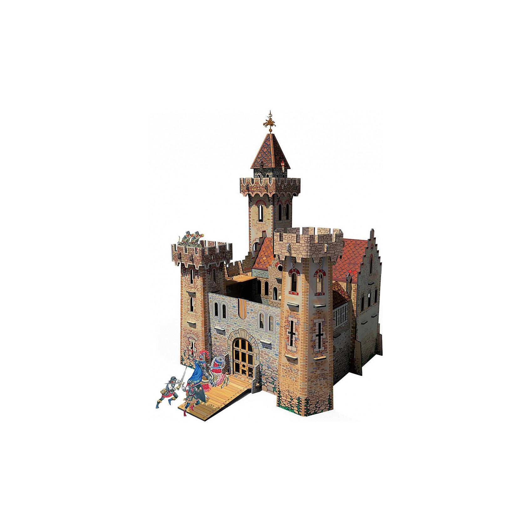 Сборная модель Рыцарский замокРыцарский замок - Сюжетный игровой набор из плотного картона. Серия: Средневековый город. Количество деталей, шт: 80. Размер в собранном виде, см: 26 х 24 х 45. Размер упаковки, мм.:  высота 493 ширина 350 глубина 37. Тип упаковки: Картонная коробка. Вес, гр.: 1800. Возраст: от 7 лет. Все модели и игрушки, созданные по технологии УМНАЯ БУМАГА собираются без ножниц и клея, что является их неповторимой особенностью.<br>Принцип соединения деталей запатентован. Соединения деталей продуманы и просчитаны с такой точностью, что при правильной сборке с моделью можно играть, как с обычной игрушкой.<br><br>Ширина мм: 350<br>Глубина мм: 37<br>Высота мм: 493<br>Вес г: 1800<br>Возраст от месяцев: 84<br>Возраст до месяцев: 2147483647<br>Пол: Унисекс<br>Возраст: Детский<br>SKU: 4807434