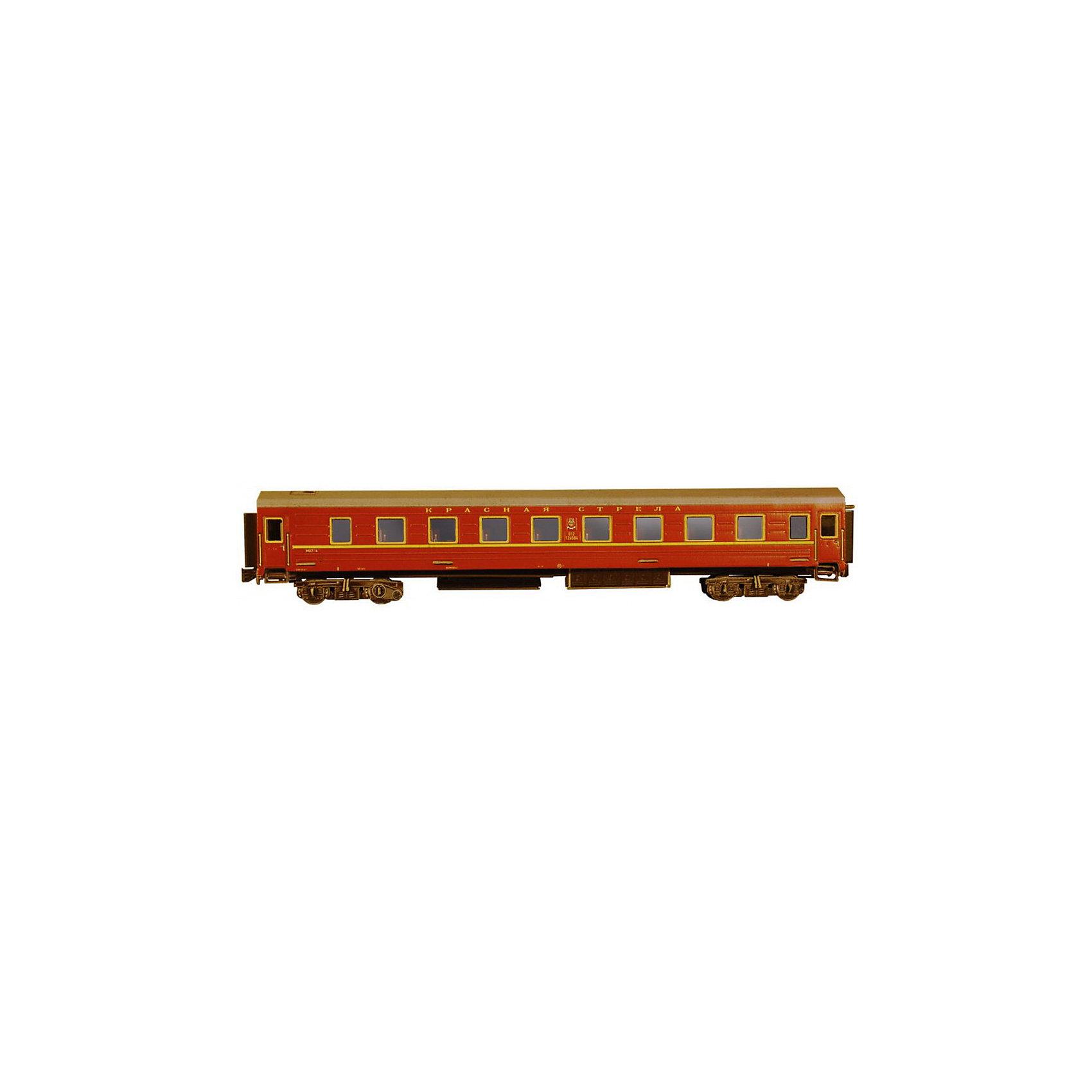 Сборная модель Спальный вагон Красная стрелаСпальный вагон КРАСНАЯ СТРЕЛА (Эпоха IV) - Сборная модель из картона. Серия: Масштабные модели. Количество деталей, шт: 59. Размер в собранном виде, см: 29 х 4 х 5,5. Размер упаковки, мм.:  высота 340 ширина 243 глубина 3. Тип упаковки: Пакет ПП с подвесом. Вес, гр.: 161. Возраст: от 9 лет. Все модели и игрушки, созданные по технологии УМНАЯ БУМАГА собираются без ножниц и клея, что является их неповторимой особенностью.<br>Принцип соединения деталей запатентован. Соединения деталей продуманы и просчитаны с такой точностью, что при правильной сборке с моделью можно играть, как с обычной игрушкой.<br><br>Ширина мм: 243<br>Глубина мм: 3<br>Высота мм: 340<br>Вес г: 161<br>Возраст от месяцев: 108<br>Возраст до месяцев: 2147483647<br>Пол: Унисекс<br>Возраст: Детский<br>SKU: 4807443