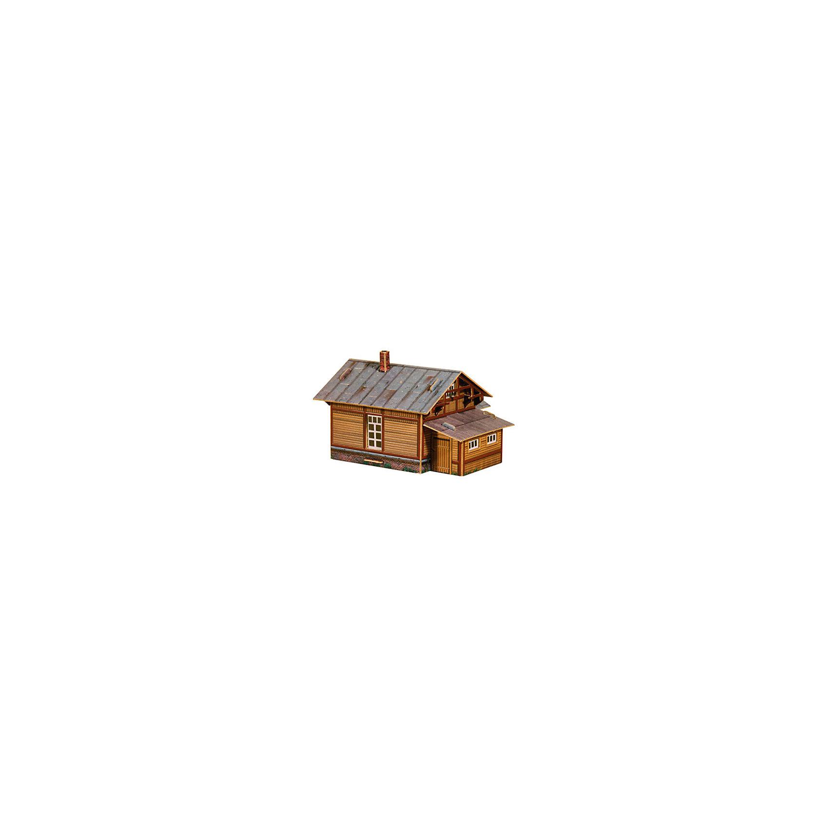Сборная модель Путевая сторожкаМодели из картона и бумаги<br>Путевая сторожка (деревянная) - Сборная модель из картона. Серия: Масштабные модели. Количество деталей, шт: 17. Размер в собранном виде, см: 11 х 7 х 7,5. Размер упаковки, мм.:  высота 242 ширина 173 глубина 2. Тип упаковки: Пакет ПП с подвесом. Вес, гр.: 45. Возраст: от 9 лет. Все модели и игрушки, созданные по технологии УМНАЯ БУМАГА собираются без ножниц и клея, что является их неповторимой особенностью.<br>Принцип соединения деталей запатентован. Соединения деталей продуманы и просчитаны с такой точностью, что при правильной сборке с моделью можно играть, как с обычной игрушкой.<br><br>Ширина мм: 173<br>Глубина мм: 2<br>Высота мм: 242<br>Вес г: 45<br>Возраст от месяцев: 108<br>Возраст до месяцев: 2147483647<br>Пол: Унисекс<br>Возраст: Детский<br>SKU: 4807445