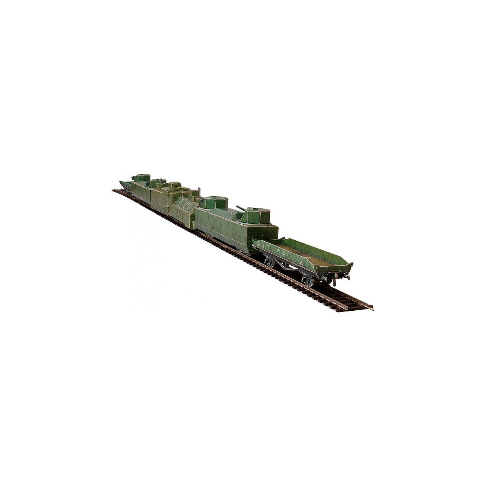 Сборная модель Бронепоезд 1939-1945 CCCРБронепоезд - Сборная модель из картона. Серия: Масштабные модели. Количество деталей, шт: 174. Размер в собранном виде, см: Бронепаровоз 1шт - 22 х 5,5 х 4. Бронеплощадка 2шт - 16,5 х 5 х 3,5. Платформа 2шт - 12 х 2,5 х 3,5.. Размер упаковки, мм.:  высота 264 ширина 180 глубина 19. Тип упаковки: Картонная коробка. Вес, гр.: 338. Возраст: от 9 лет. Все модели и игрушки, созданные по технологии УМНАЯ БУМАГА собираются без ножниц и клея, что является их неповторимой особенностью.<br>Принцип соединения деталей запатентован. Соединения деталей продуманы и просчитаны с такой точностью, что при правильной сборке с моделью можно играть, как с обычной игрушкой.<br><br>Ширина мм: 180<br>Глубина мм: 19<br>Высота мм: 264<br>Вес г: 338<br>Возраст от месяцев: 108<br>Возраст до месяцев: 2147483647<br>Пол: Унисекс<br>Возраст: Детский<br>SKU: 4807453