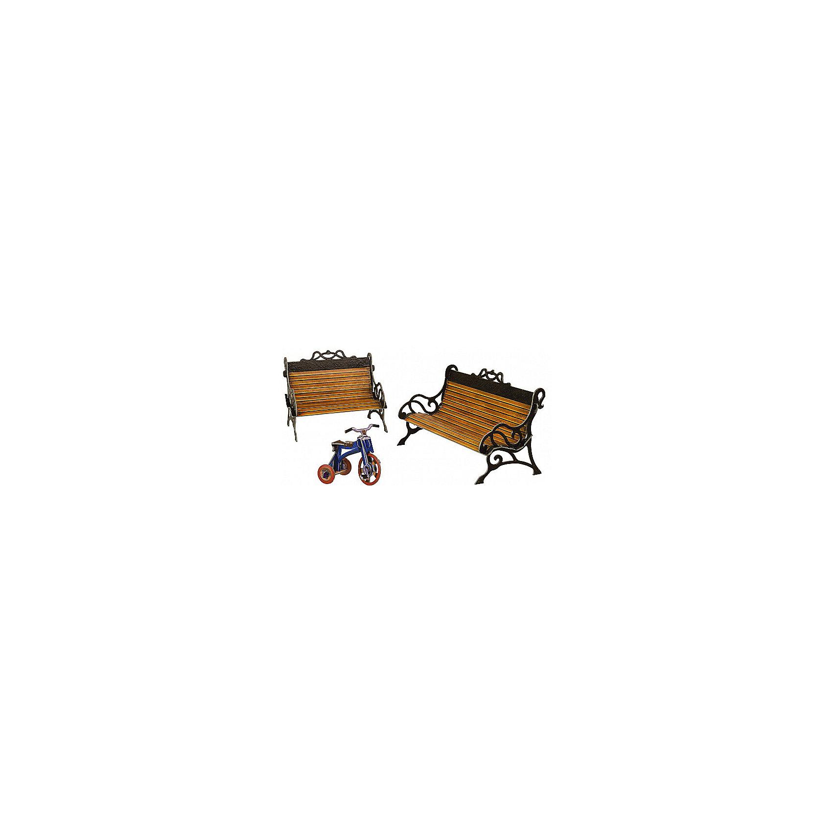 Сборная модель СкамейкиСкамейки - Сюжетный игровой набор из плотного картона. Серия: Кукольный дом и мебель. Количество деталей, шт: 17. Размер в собранном виде, см: Скамья - 16 х 9 х 7,5. Скамья - 11 х 9 х 7,5. Велосипед - 7,5 х 5 х 5. Размер упаковки, мм.:  высота 250 ширина 175 глубина 3. Тип упаковки: Пакет ПП с подвесом. Вес, гр.: 95. Возраст: от 7 лет. Все модели и игрушки, созданные по технологии УМНАЯ БУМАГА собираются без ножниц и клея, что является их неповторимой особенностью.<br>Принцип соединения деталей запатентован. Соединения деталей продуманы и просчитаны с такой точностью, что при правильной сборке с моделью можно играть, как с обычной игрушкой.<br><br>Ширина мм: 175<br>Глубина мм: 3<br>Высота мм: 250<br>Вес г: 95<br>Возраст от месяцев: 36<br>Возраст до месяцев: 2147483647<br>Пол: Унисекс<br>Возраст: Детский<br>SKU: 4807469