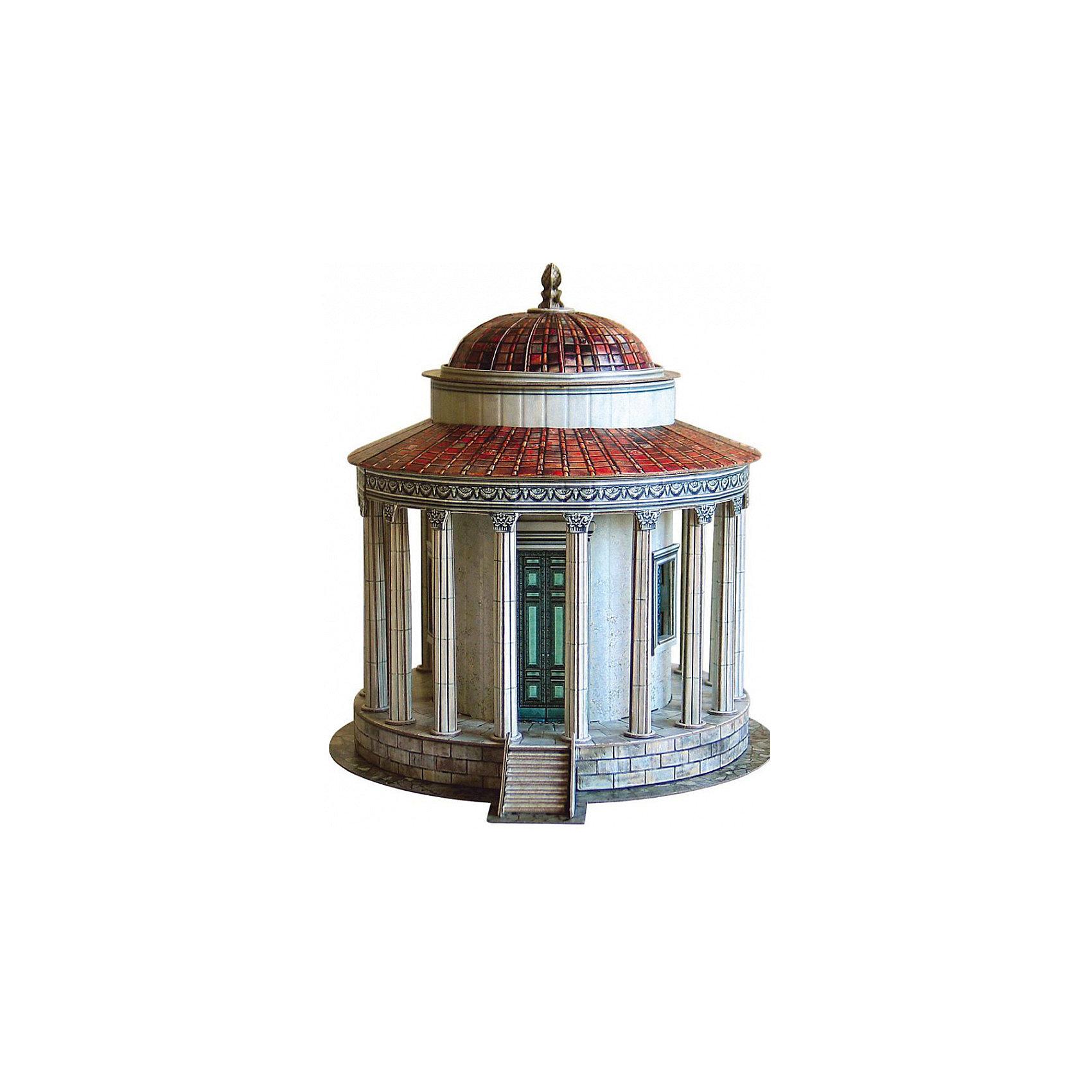 Сборная модель Храм Весты в ТиволиМодели из картона и бумаги<br>Храм Весты в Тиволи - Сборная модель из картона. Серия: Масштабные модели. Количество деталей, шт: 80. Размер в собранном виде, см: 16 x 17 x 18,5. Размер упаковки, мм.:  высота 368 ширина 252 глубина 23. Тип упаковки: Картонная коробка. Вес, гр.: 368. Возраст: от 9 лет. Все модели и игрушки, созданные по технологии УМНАЯ БУМАГА собираются без ножниц и клея, что является их неповторимой особенностью.<br>Принцип соединения деталей запатентован. Соединения деталей продуманы и просчитаны с такой точностью, что при правильной сборке с моделью можно играть, как с обычной игрушкой.<br><br>Ширина мм: 252<br>Глубина мм: 23<br>Высота мм: 368<br>Вес г: 368<br>Возраст от месяцев: 84<br>Возраст до месяцев: 2147483647<br>Пол: Унисекс<br>Возраст: Детский<br>SKU: 4807481