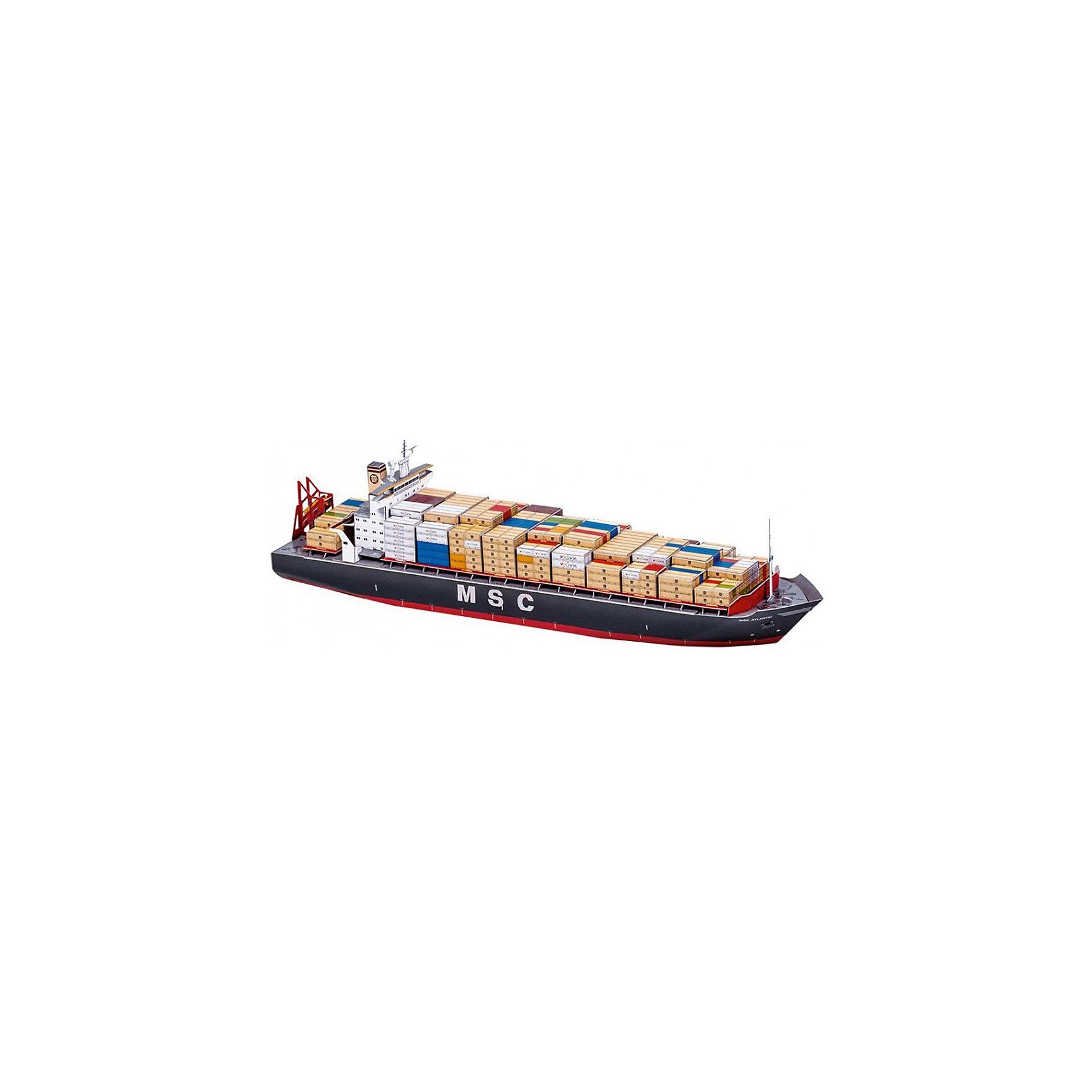 Сборная модель Контейнеровоз MCS АтлантикБумажные модели<br>Контейнеровоз MSC Атлантик - Сборная модель из картона. Количество деталей, шт: 99. Размер в собранном виде, см: 45 x 10 x 12. Размер упаковки, мм.:  высота 220 ширина 500 глубина 25. Тип упаковки: Картонная коробка. Вес, гр.: 555. Возраст: от 9 лет. Все модели и игрушки, созданные по технологии УМНАЯ БУМАГА собираются без ножниц и клея, что является их неповторимой особенностью.<br>Принцип соединения деталей запатентован. Соединения деталей продуманы и просчитаны с такой точностью, что при правильной сборке с моделью можно играть, как с обычной игрушкой.<br><br>Ширина мм: 500<br>Глубина мм: 25<br>Высота мм: 220<br>Вес г: 555<br>Возраст от месяцев: 84<br>Возраст до месяцев: 2147483647<br>Пол: Унисекс<br>Возраст: Детский<br>SKU: 4807494