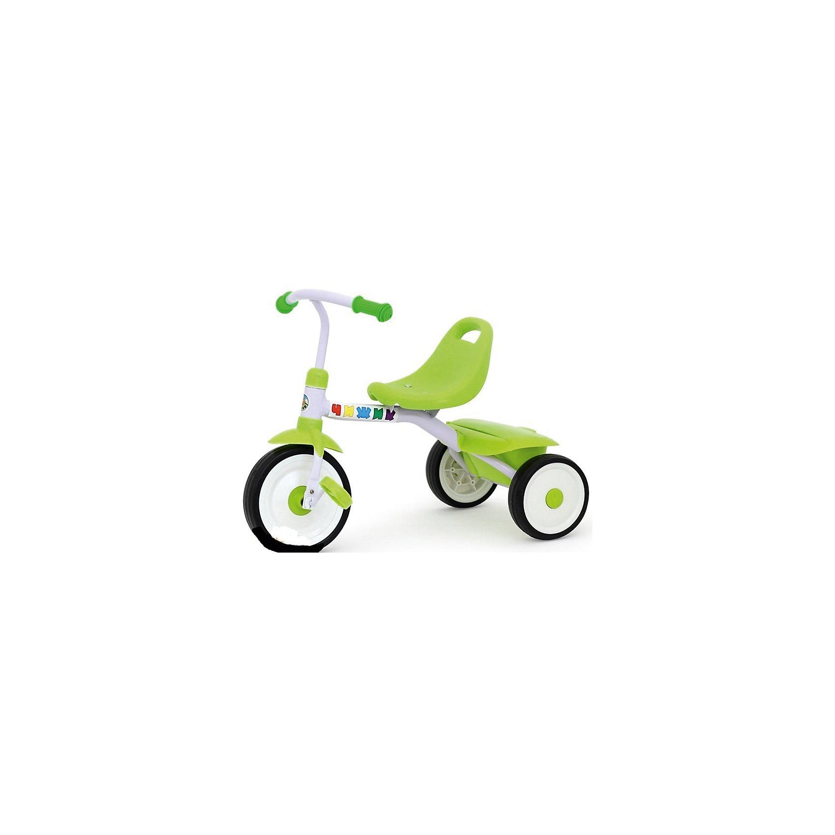 Трехколесный велосипед, Чижик, бело-зеленыйТрехколесный велосипед, Чижик, бело-зеленый<br><br>Яркий детский трехколесный велосипед, Чижик будет идеальным велосипедом для вашего малыша. Удобное пластиковое сидение со спинкой дает малышу возможность сидеть уверенно. Сзади велосипед оснащен корзинкой, которая закрывается краышкой, сюда можно сложить свои игрушки и перевозить их куда угодно! Велосипед рекомендован для детей от 1,5 лет. Длина велосипеда составляет 65 см., высота от пола до сидения – 29 см, а высота от пола до руля составляет 47 см.<br>Дополнительная информация:<br><br>- Материал: пластик, металл <br>- Размер игрушки: 65 *40 *47 см<br><br>Трехколесный велосипед, Чижик, бело-зеленый, можно купить в нашем интернет-магазине.<br>Подробнее:<br>• Для детей в возрасте: от 1,5 до 3 лет<br>• Номер товара: 4809917<br>Страна производитель: Китай<br><br>Ширина мм: 390<br>Глубина мм: 180<br>Высота мм: 280<br>Вес г: 2500<br>Возраст от месяцев: 18<br>Возраст до месяцев: 36<br>Пол: Унисекс<br>Возраст: Детский<br>SKU: 4809917