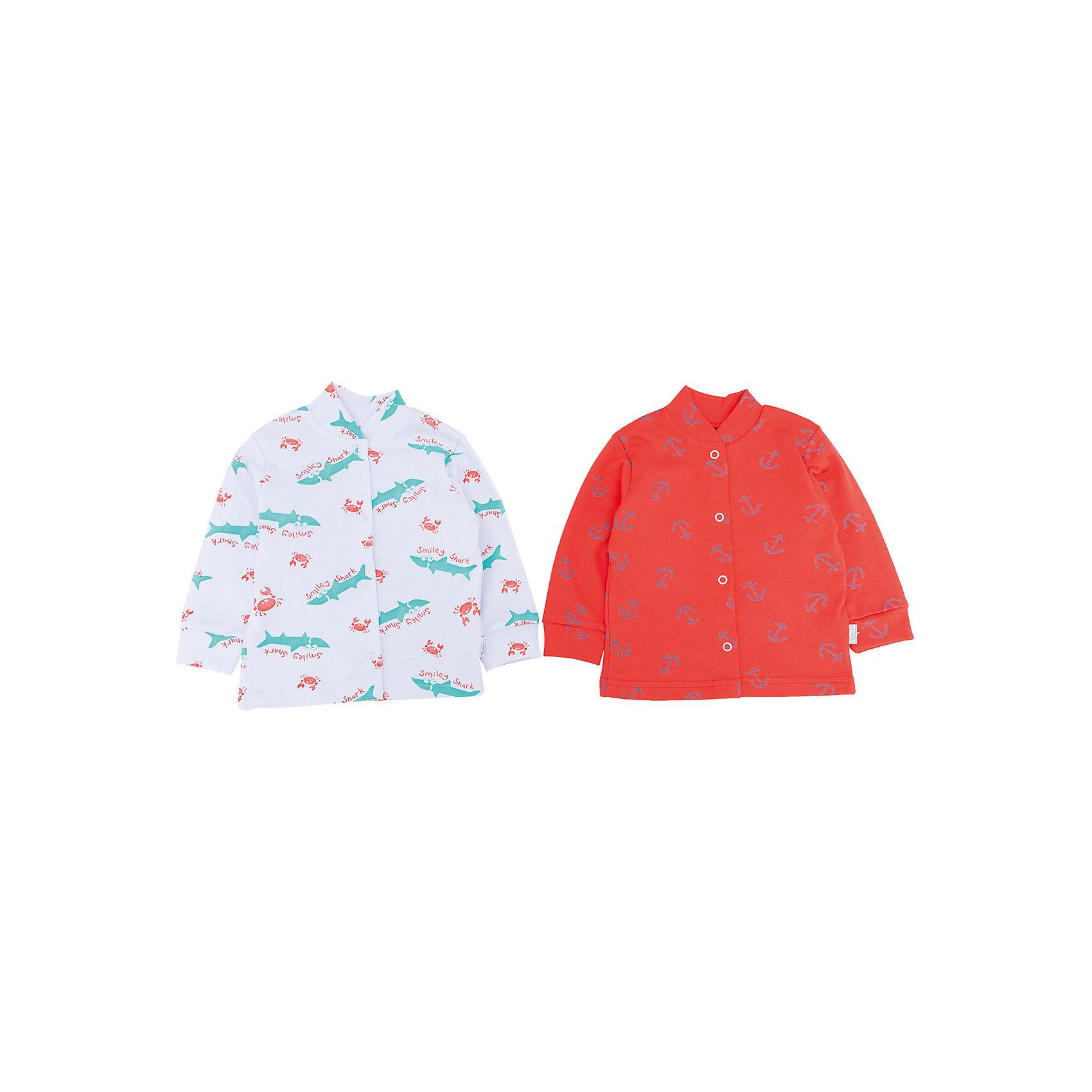 Кофточка, 2 шт. Веселый малышЯркие кофточки от российского бренда Веселый малыш имеют воротник-стойку и манжеты с резинками. Они отлично защитят от холода и порадуют яркой расцветкой. Кофточки изготовлены из качественного хлопка. Он приятен телу, хорошо сохраняет свои свойства, а швы одежды не вызывают раздражения на нежной коже. Кофточки отличаются оригинальным дизайном на морскую тематику: белая с изображением морских жителей и оранжевая с якорями. Порадуйте кроху яркой одеждой!<br><br>Дополнительная информация:<br>Материал: интерлок<br>Состав: 100% хлопок<br>Цвет: оранжевый<br>Серия: Twin<br><br>Купить комплект из 2-х кофточек Веселый малыш можно в нашем интернет-магазине.<br><br>Ширина мм: 157<br>Глубина мм: 13<br>Высота мм: 119<br>Вес г: 200<br>Цвет: оранжевый<br>Возраст от месяцев: 6<br>Возраст до месяцев: 9<br>Пол: Унисекс<br>Возраст: Детский<br>Размер: 74,80,62,56,68<br>SKU: 4810348